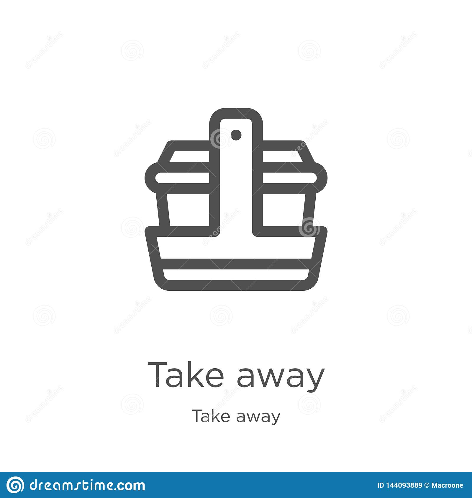 take away icon vector from take away collection. Thin line take away outline icon vector illustration. Outline, thin line take
