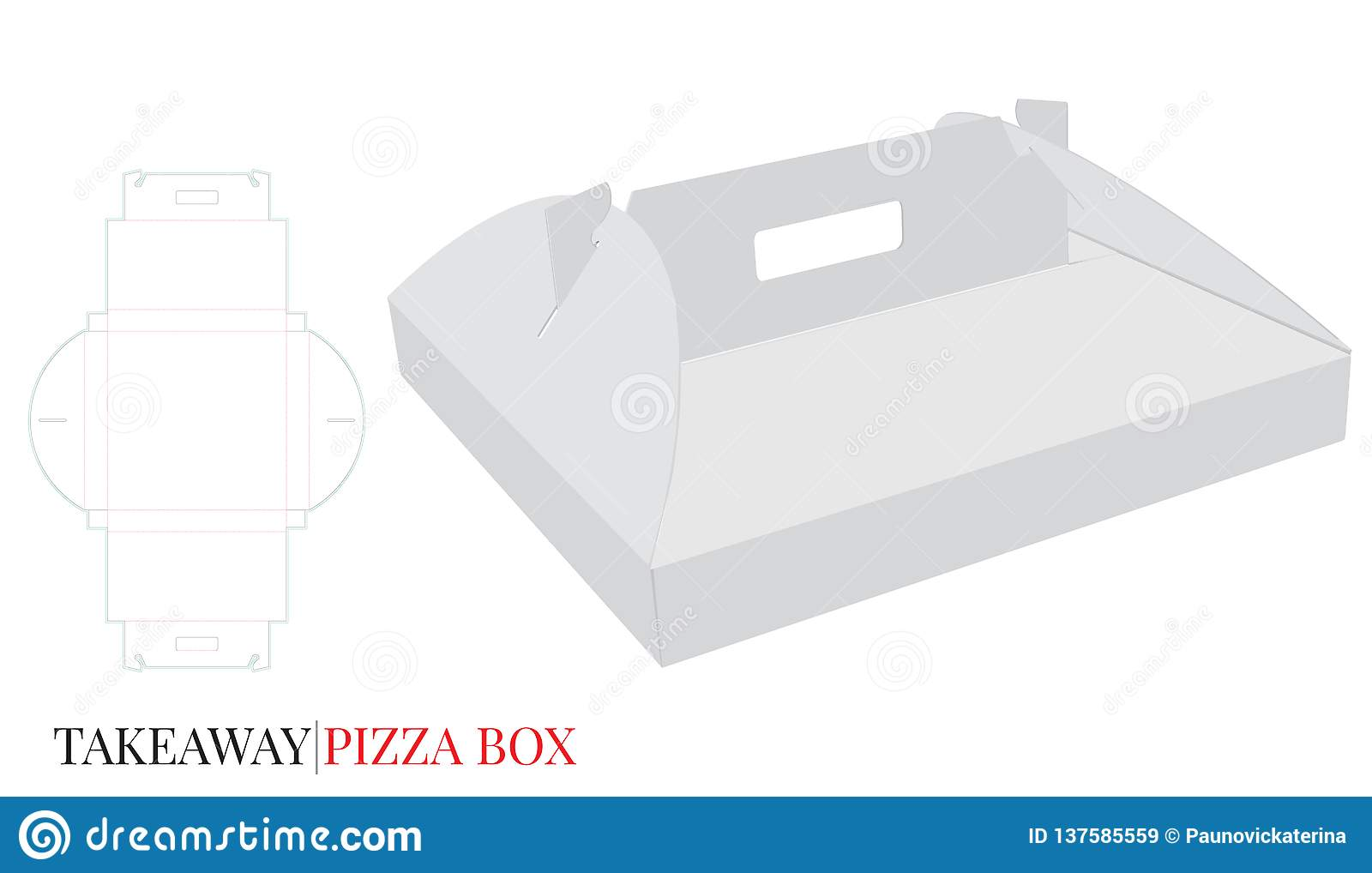 Pizza Box with Handle Template with die cut lines, Cardboard Self Lock Delivery Box. Vector with die cut / laser cut layers