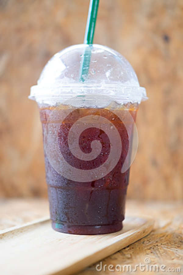 Take Away Plastic Cup Of Iced Black Coffee Americano In A ...