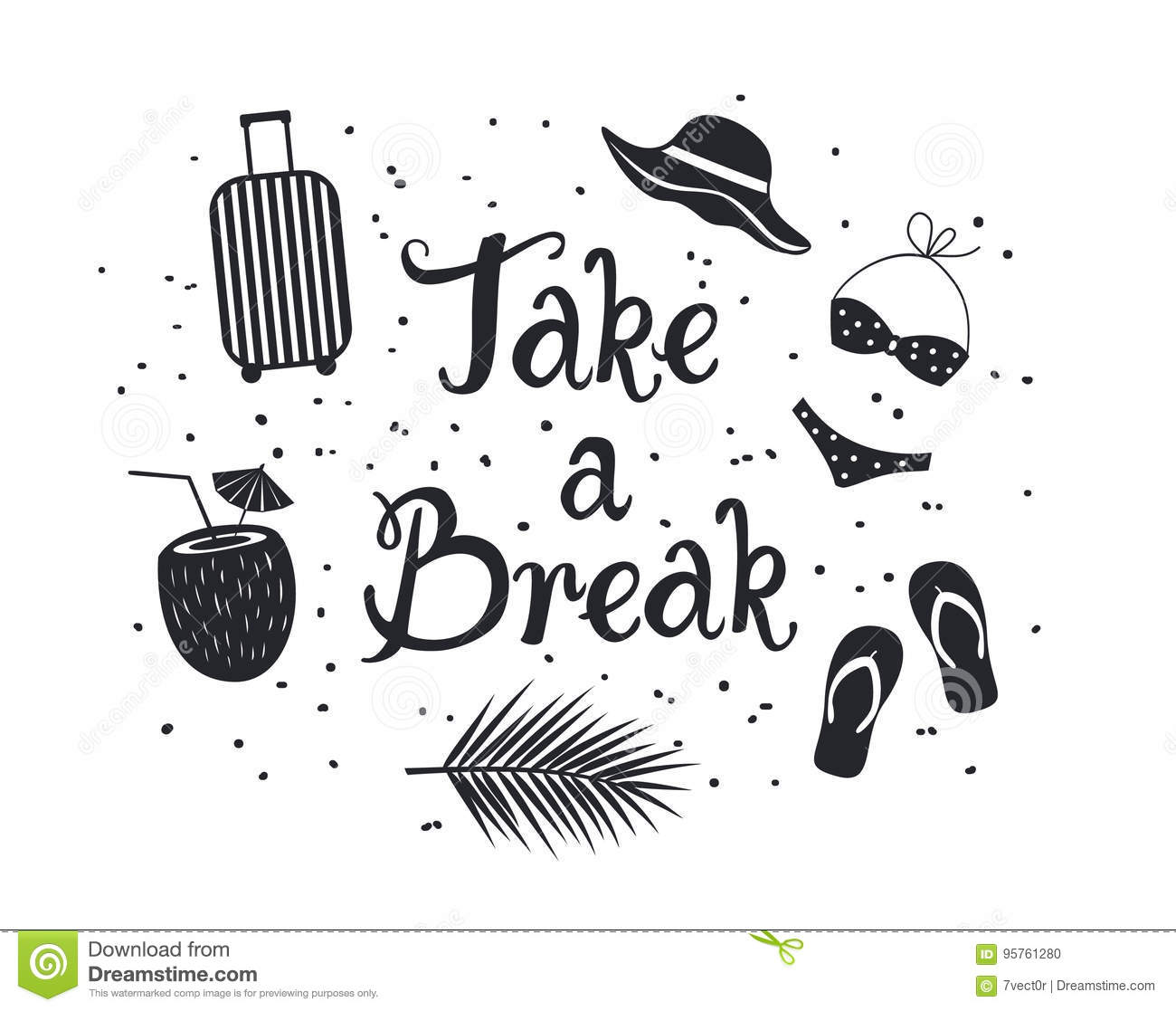 Take A Break Inspirational Hand Written Lettering Quote Poster Card