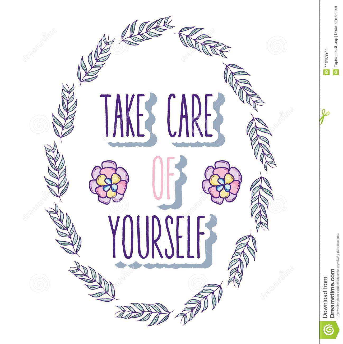Take Care Of Yourself Quote Stock Vector Illustration Of Message