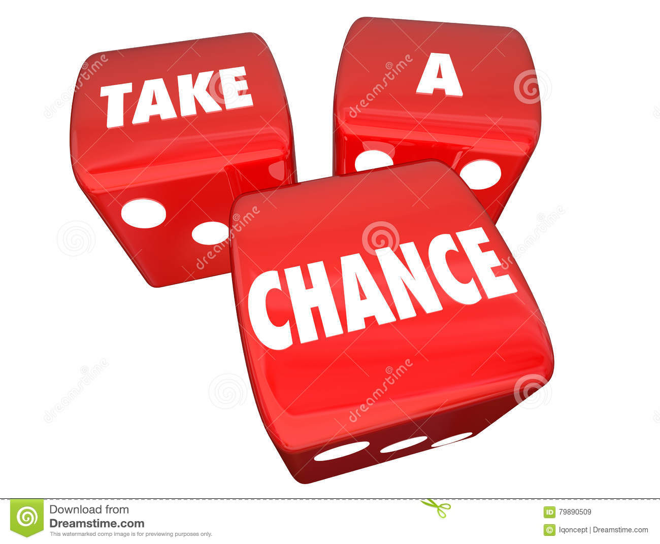Take a Chance Three Red Dice Rolling