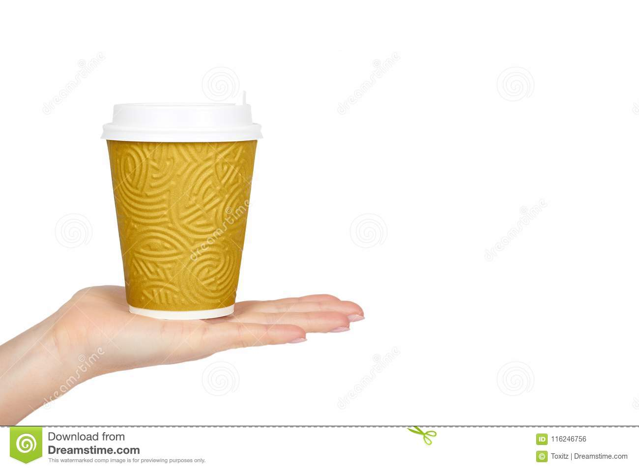 Take out coffee in thermo cup with hand. Isolated on a white background. Disposable container, hot beverage. copy space, template