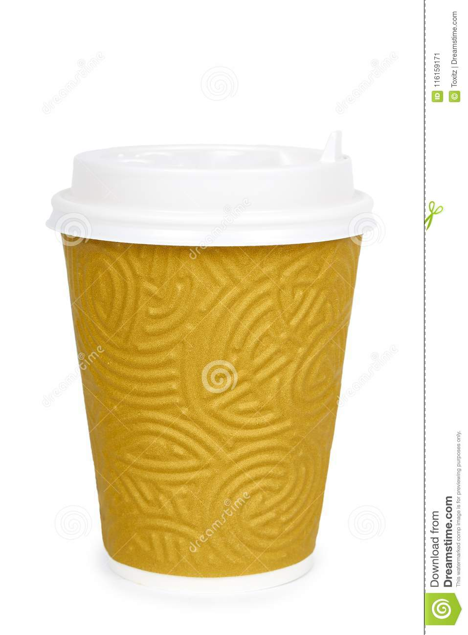Take out coffee in thermo cup. Isolated on a white background. Disposable container, hot beverage