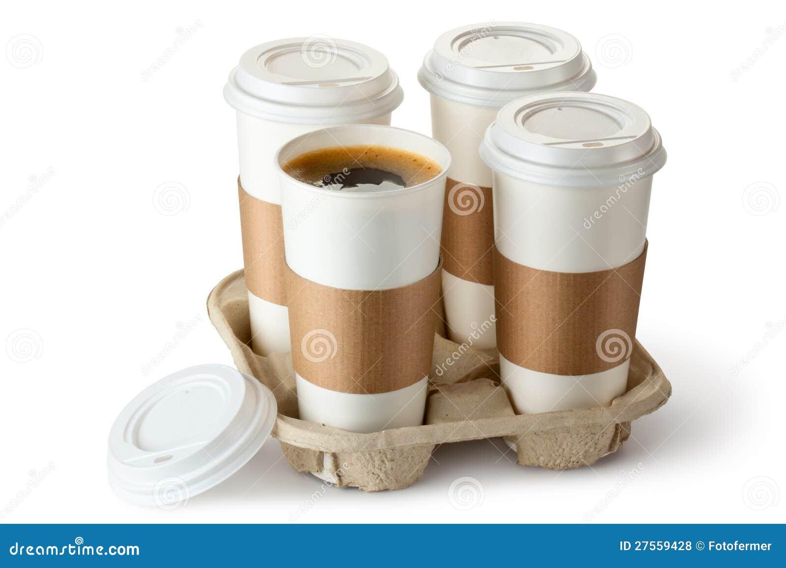 Take-out Kaffee vier in der Halterung. Ein Cup ist geöffnet.