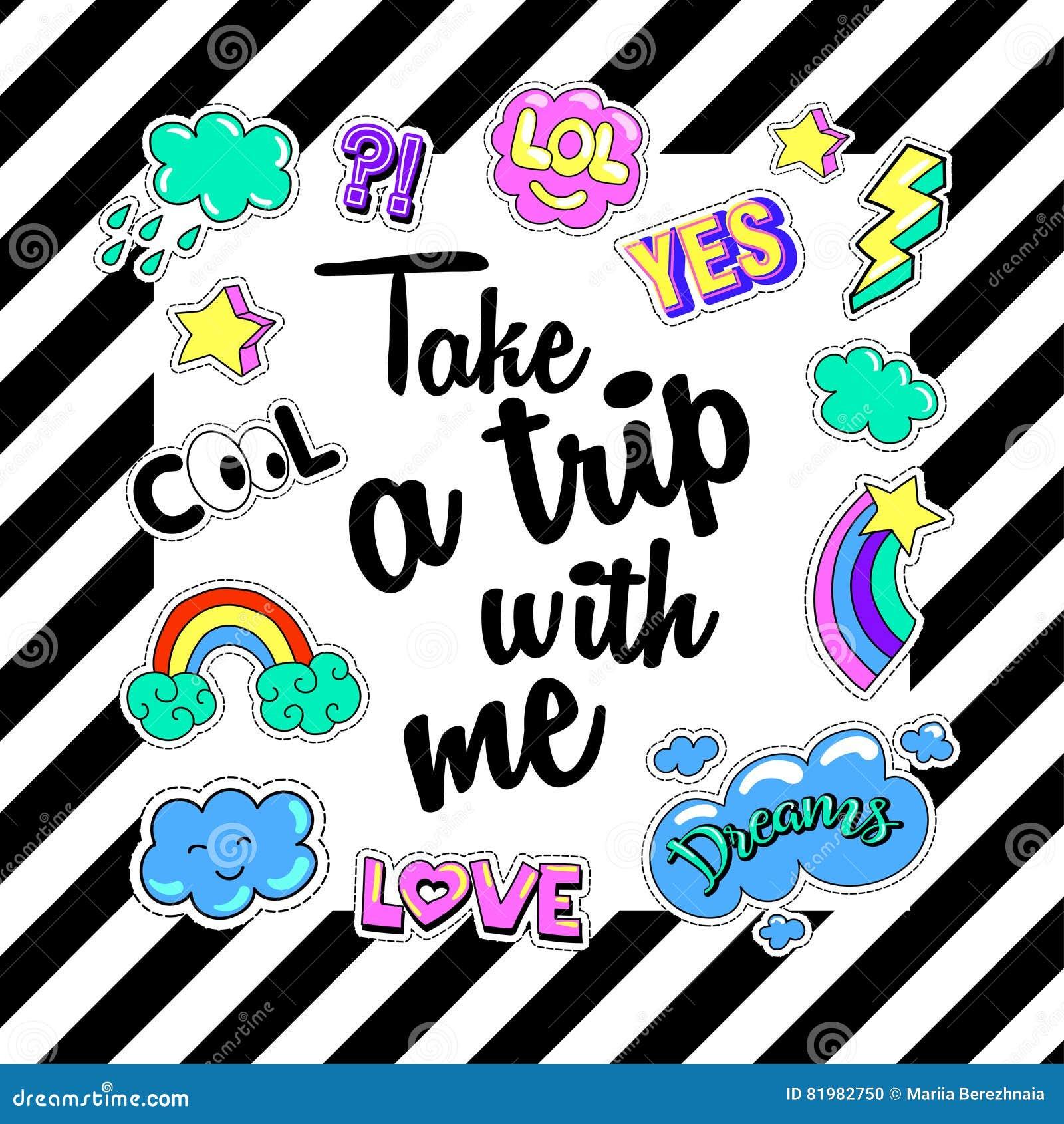 90s poster design - Take A Trip With Me Poster Banner Patch Badges Vector Illustration Design