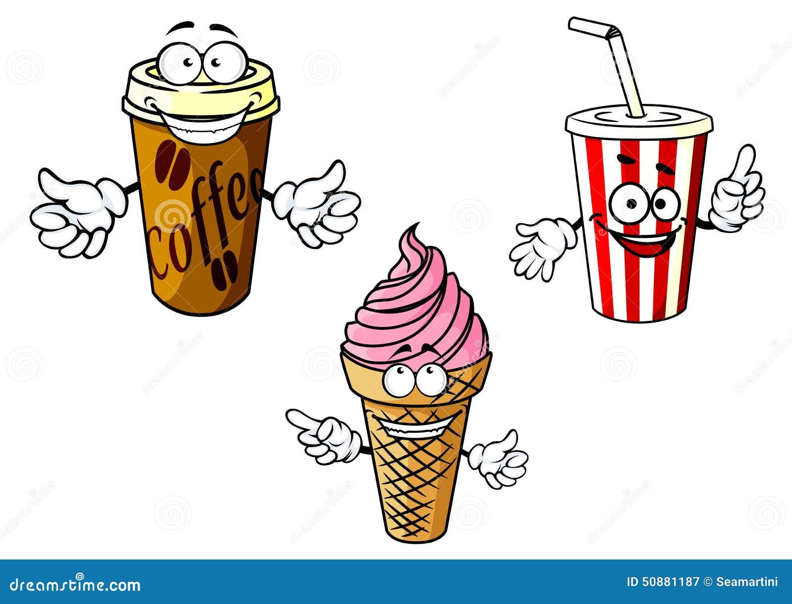 Takeaway Cartoon Coffee Soda Ice Cream Stock Vector Image 50881187