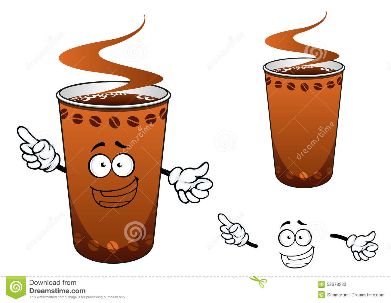 Takeaway Cup Of Coffee Cartoon Character Stock Vector