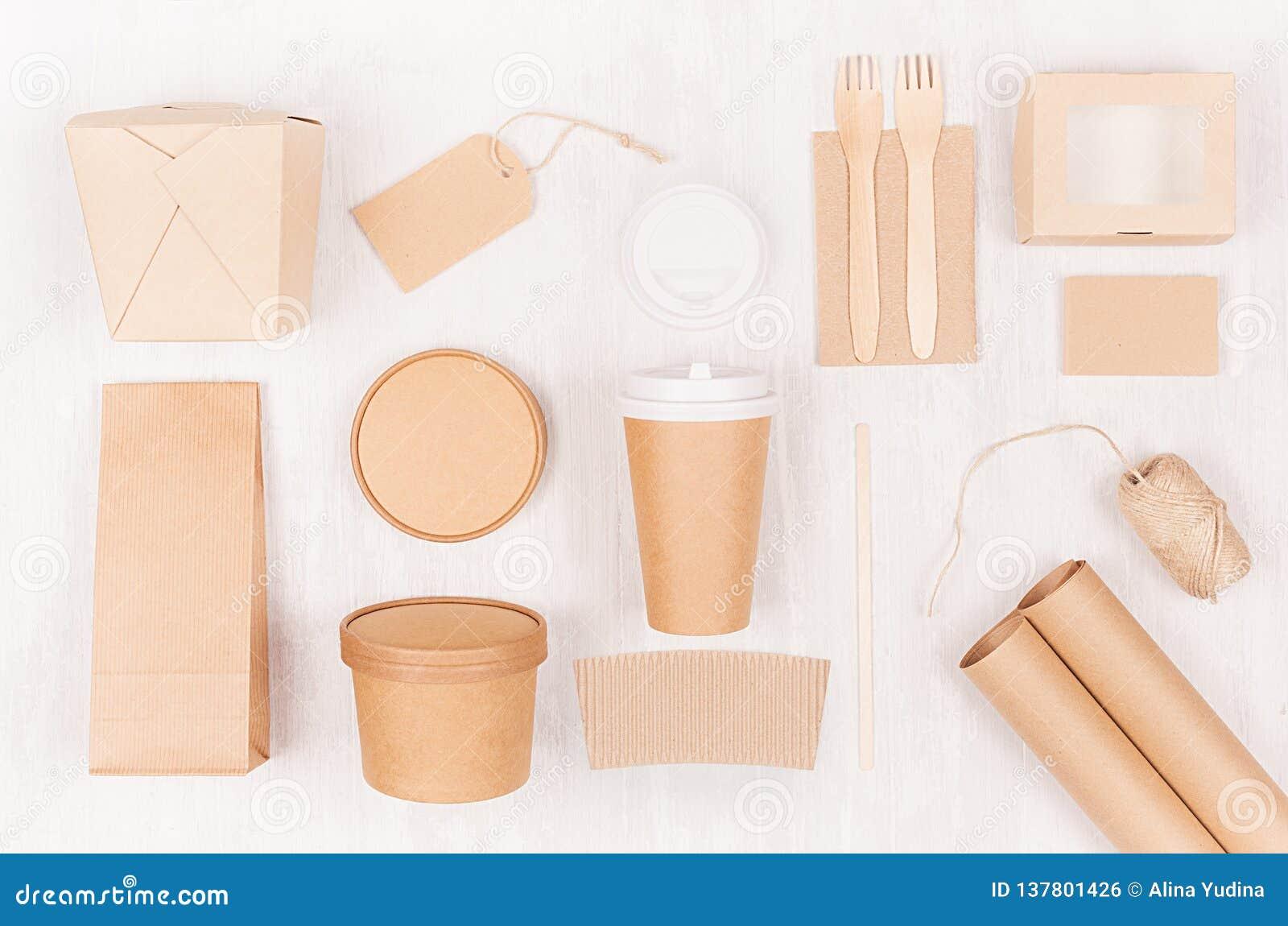 Takeaway fastställd modell för mat för märke - olik behållare och ask av kraft papper för asiatisk kokkonst, tom etikett, kaffeko