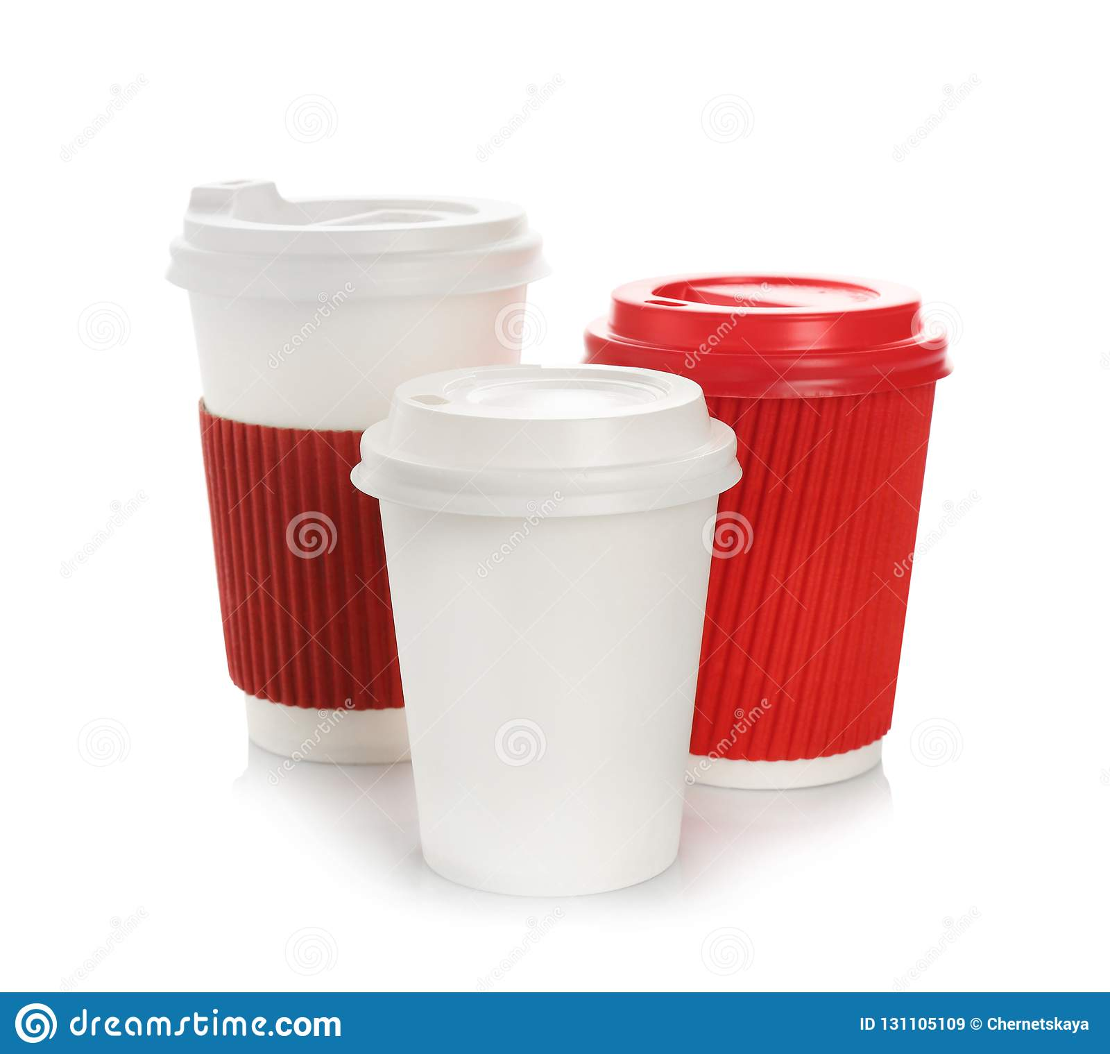 Takeaway Paper Coffee Cups With Lids Stock Image - Image ...