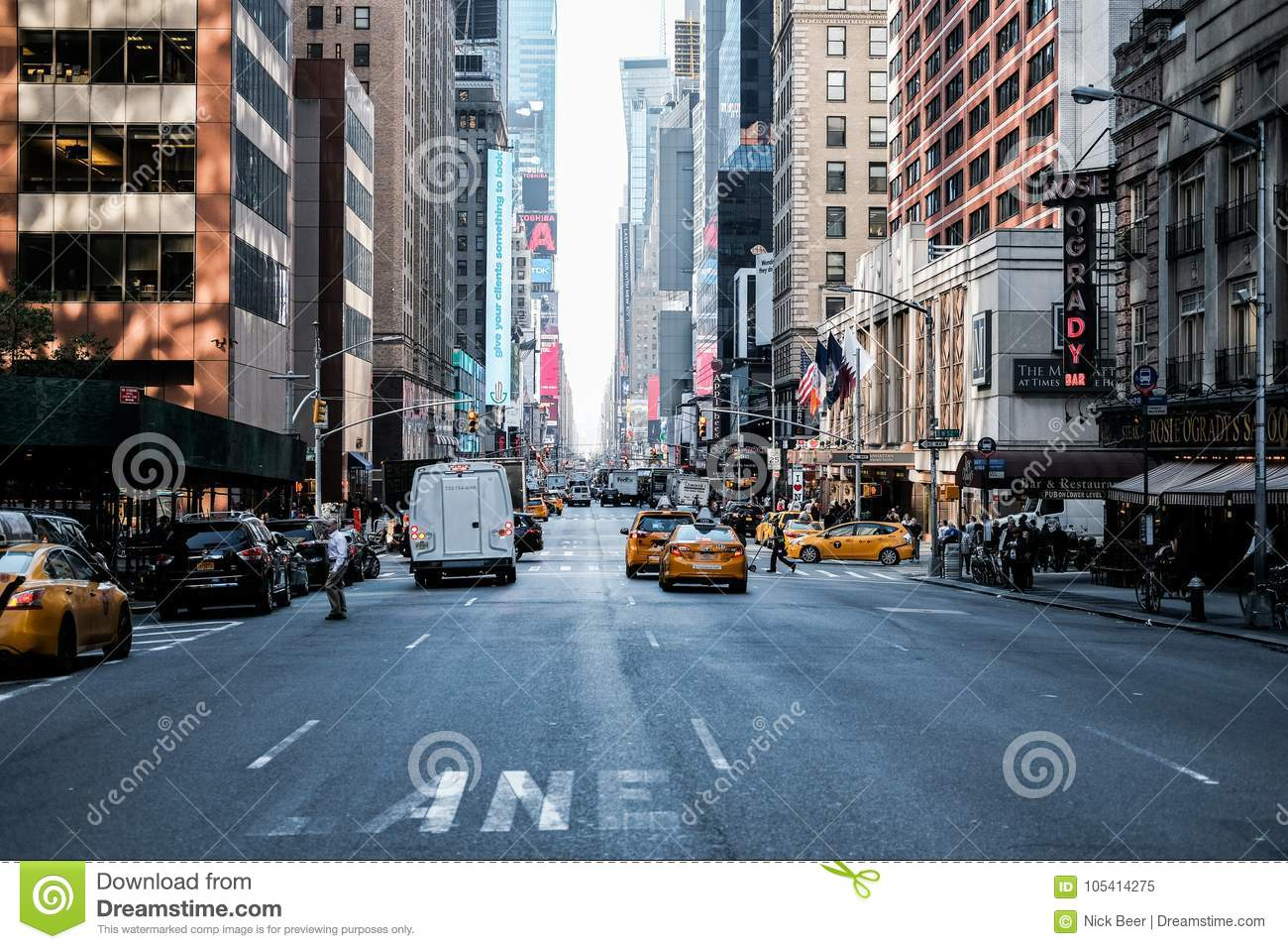 Famous View Of A Manhattan Road In Central New York City Editorial