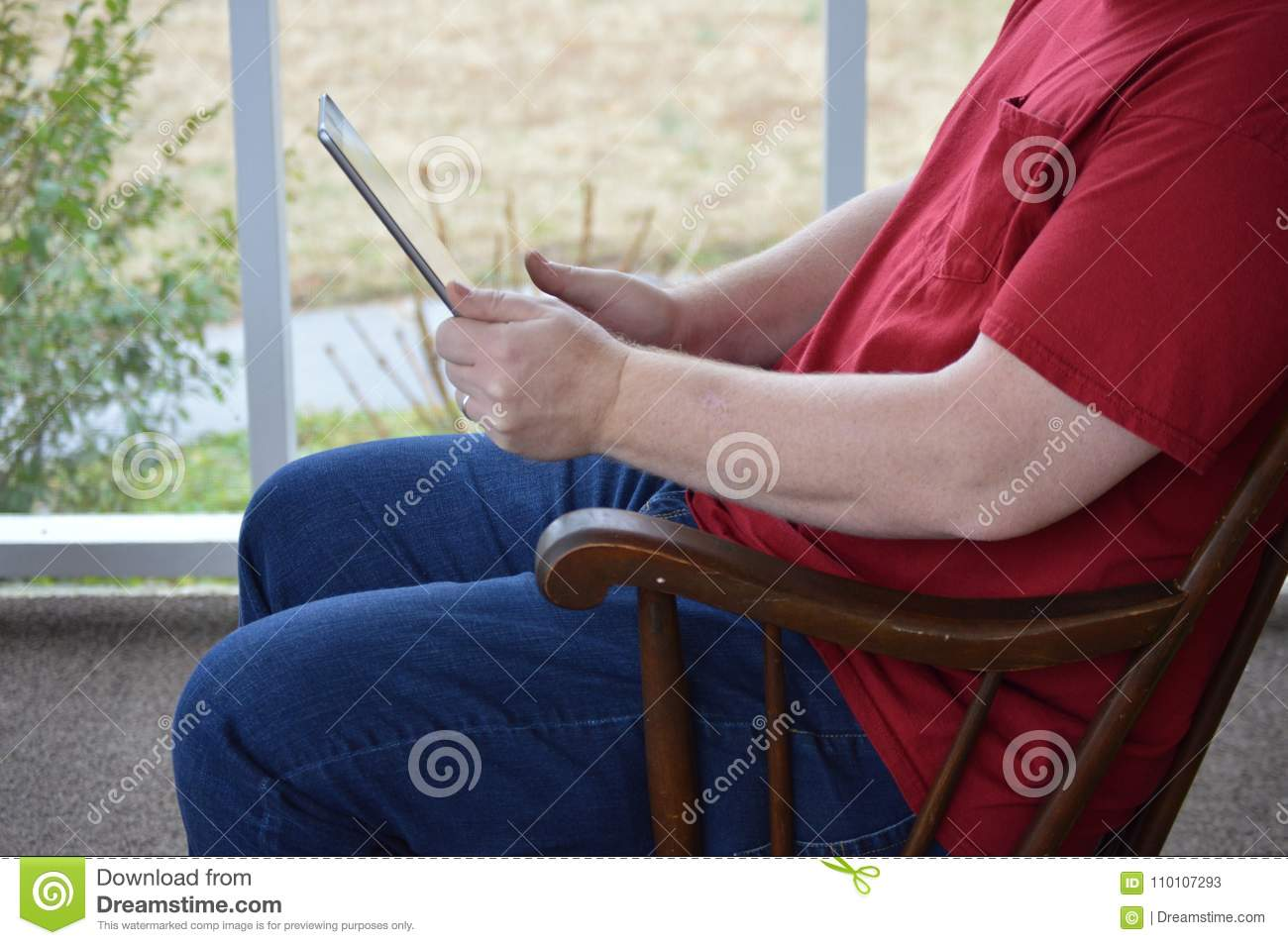 Tremendous Using A Tablet In A Rocking Chair 5 Stock Image Image Of Gmtry Best Dining Table And Chair Ideas Images Gmtryco
