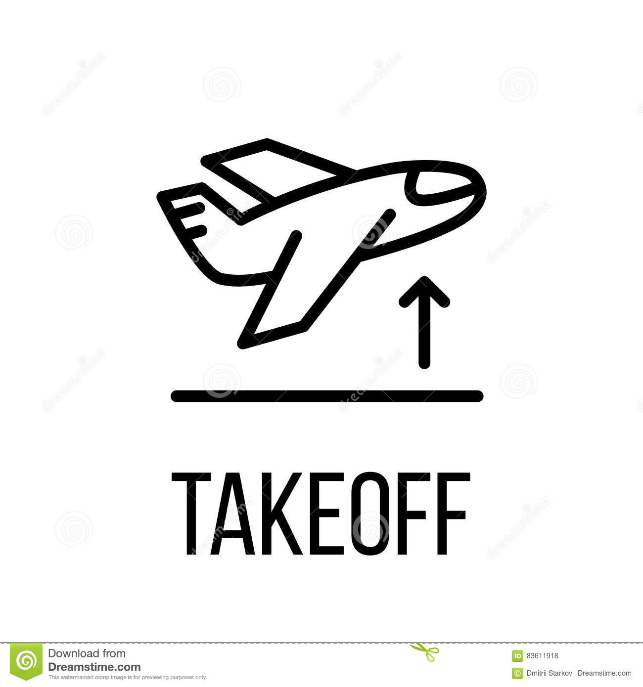 Takeoff icon or logo in modern line style.