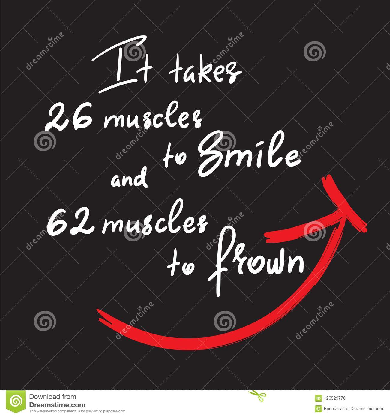 It Takes 26 Muscles To Smile And 62 Muscles To Frown Handwritten