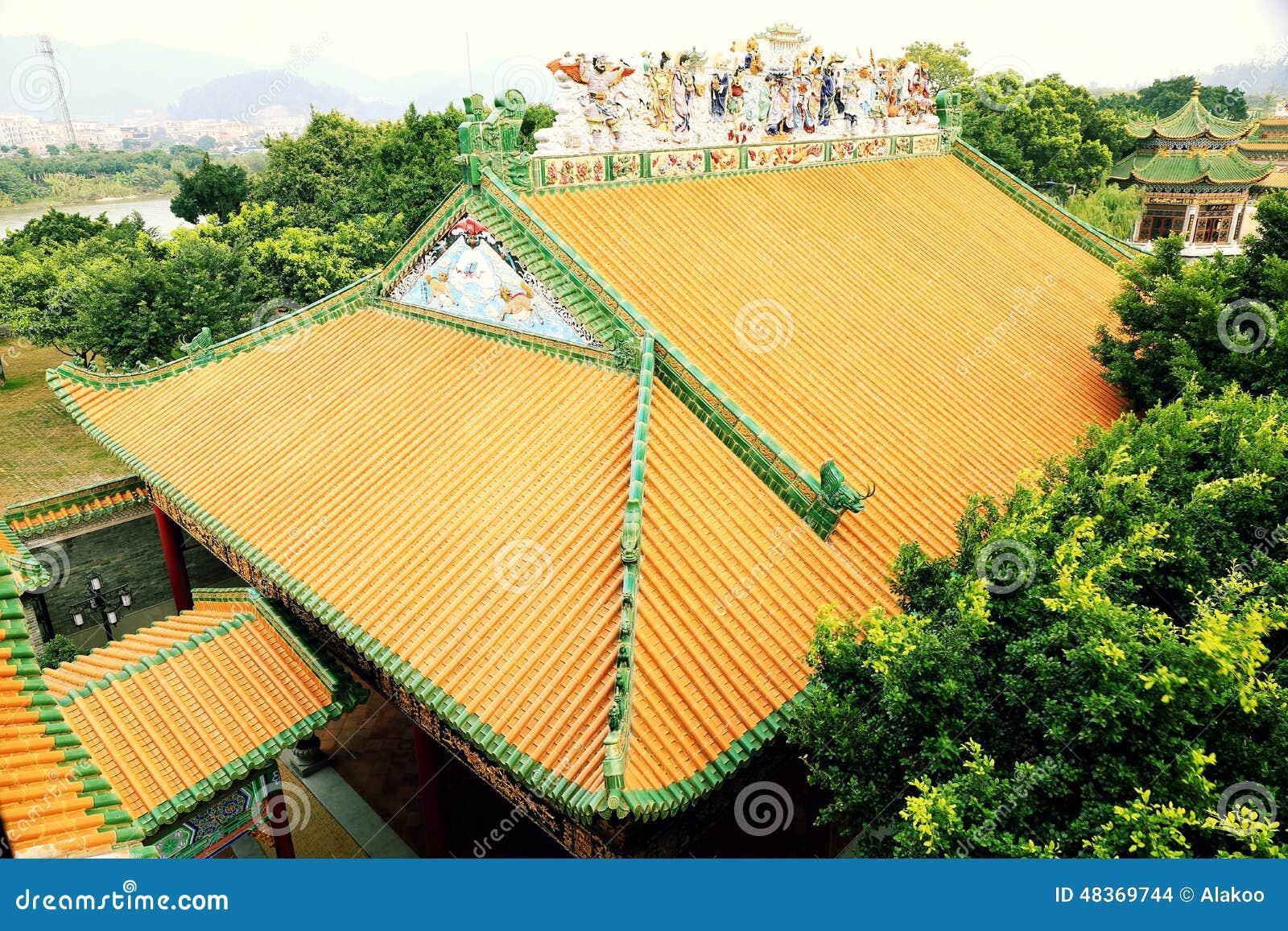 Taket för traditionell kines av det klassiska huset med guling glasade tegelplattor i slott
