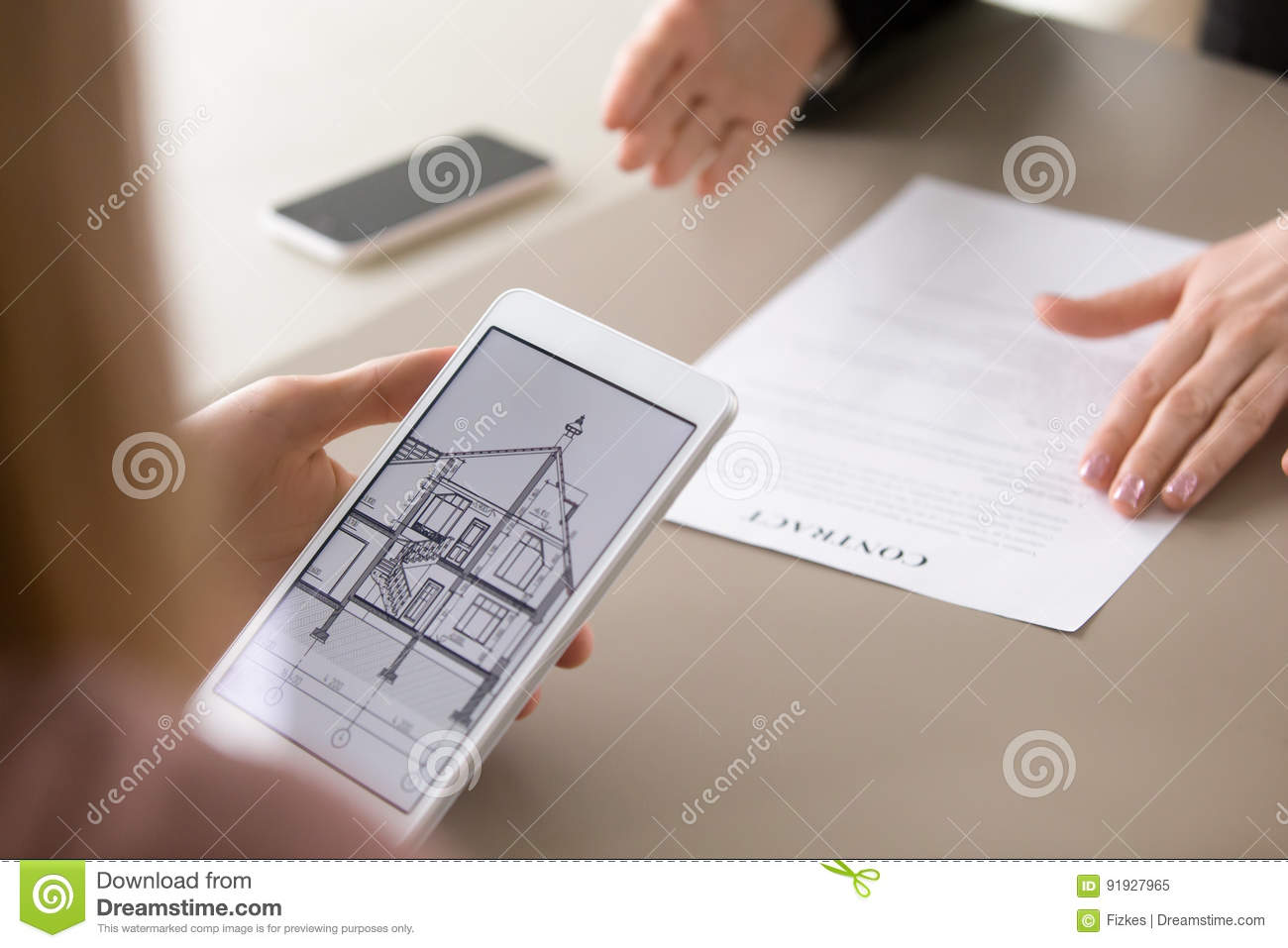 Real Estatecy Clients Holding Tablet Lo Ng At Architectural Plan Of Dream House Considering Mort E Loan For Buying Suburban Housing