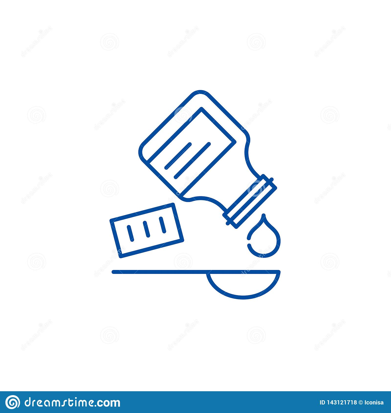 Taking the medicine line icon concept. Taking the medicine flat vector symbol, sign, outline illustration.