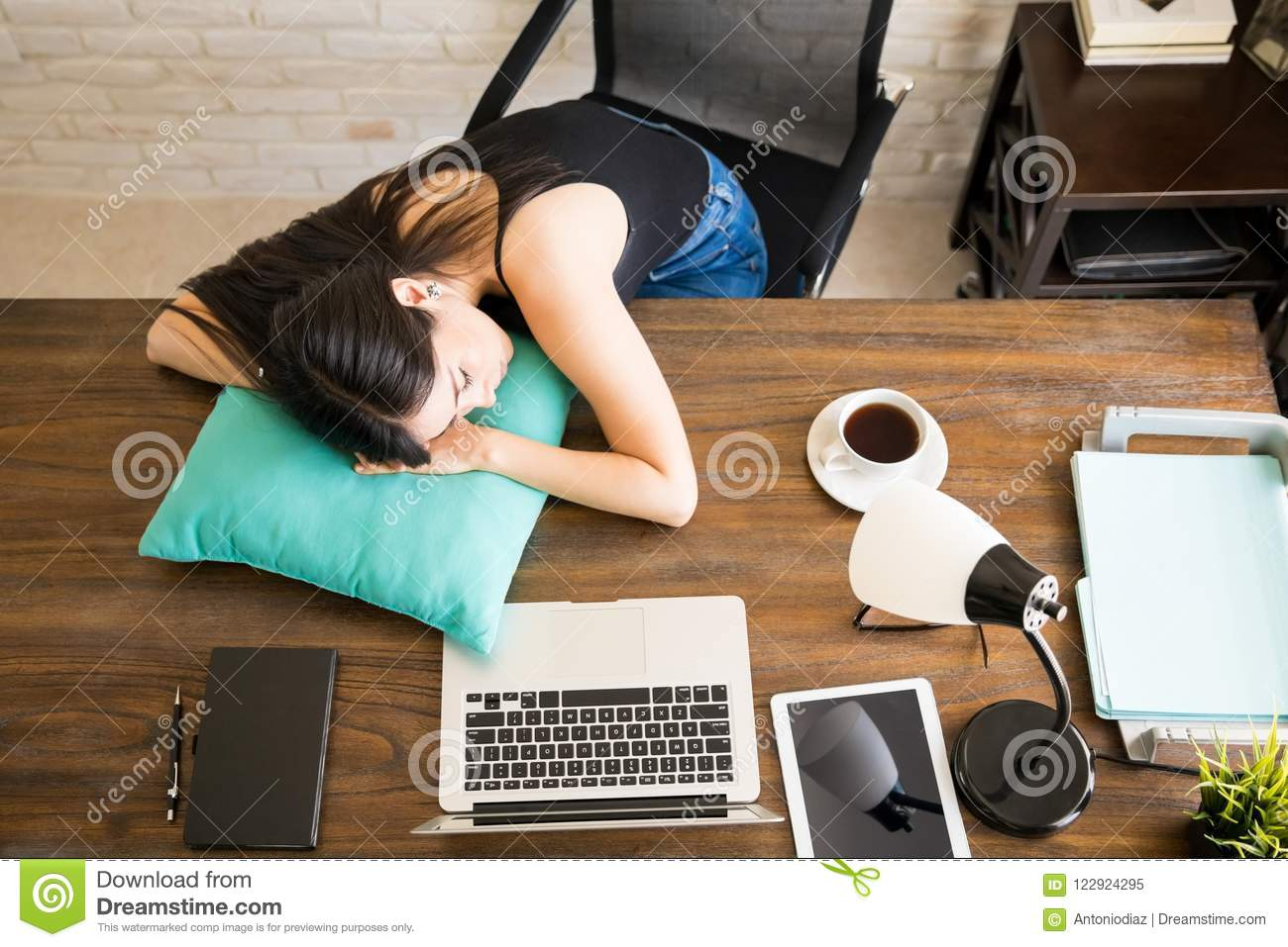Taking A Nap On Desk Stock Image Image Of Pillow Tired 122924295