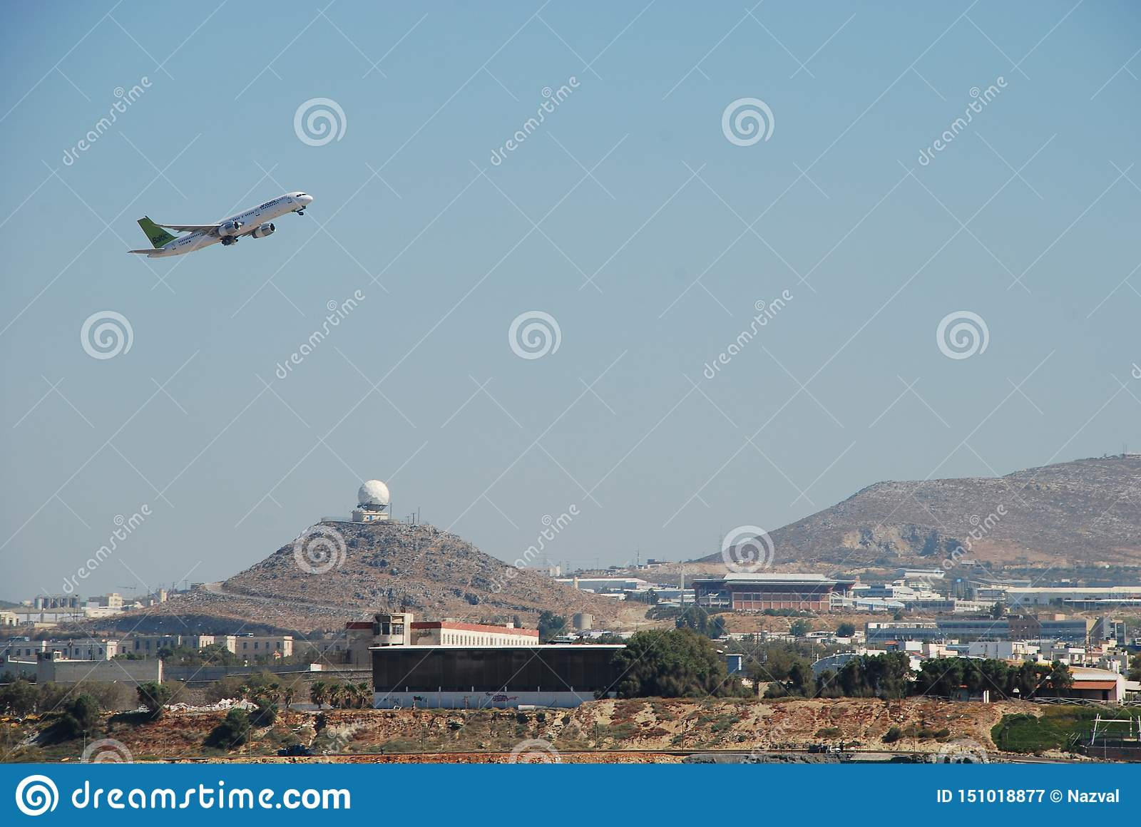 Taking off the plane from the resort airport in the city of Heraklion in Crete