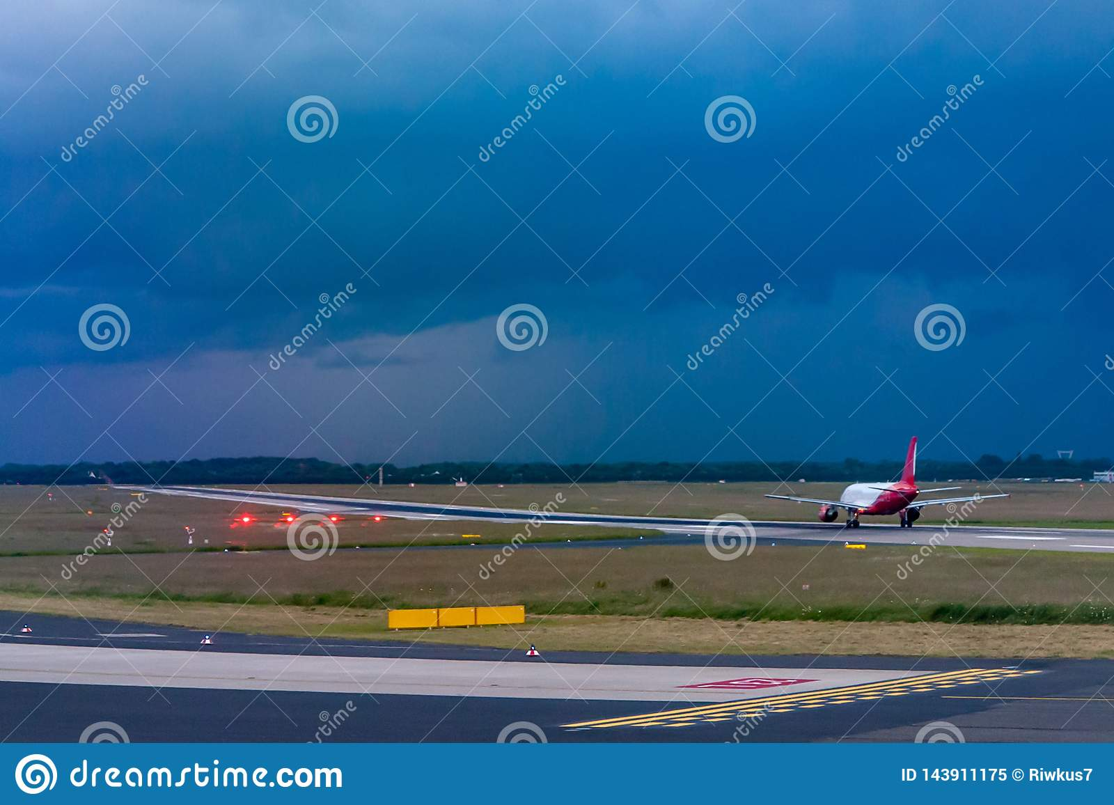 Taking off the plane on the runway