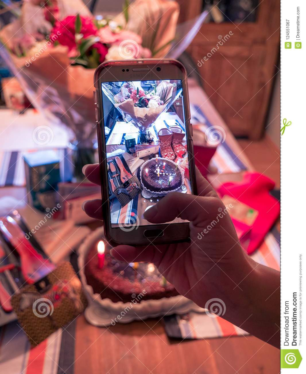 Taking Photo Of Birthday Presents With Smartphone Stock Image