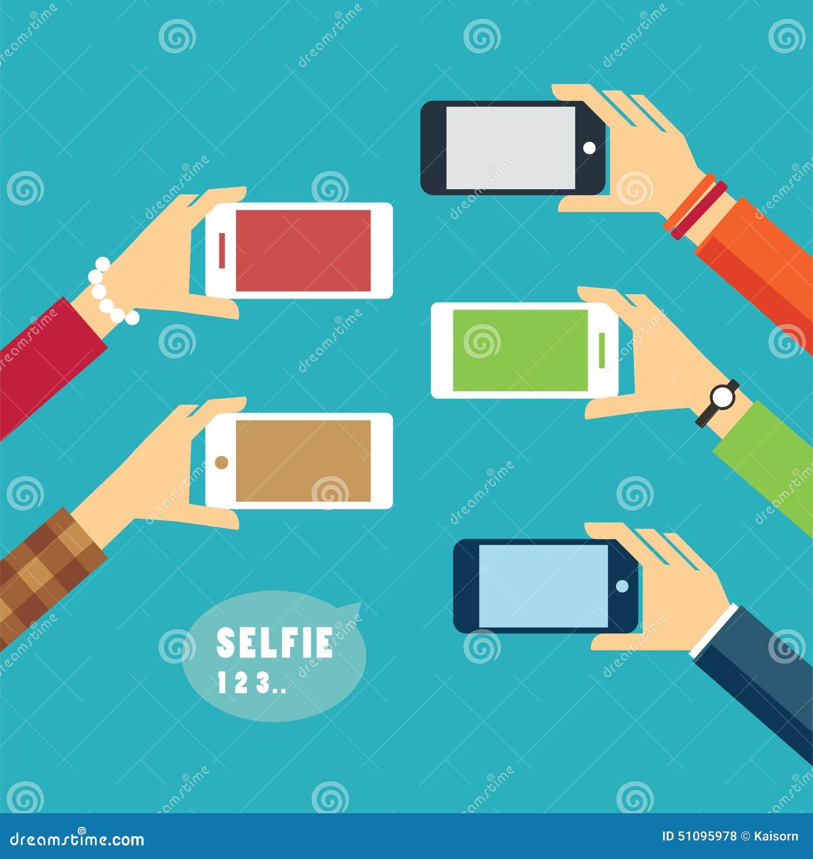 Taking A Selfie Photo Flat Design Stock Vector - Image: 51095978