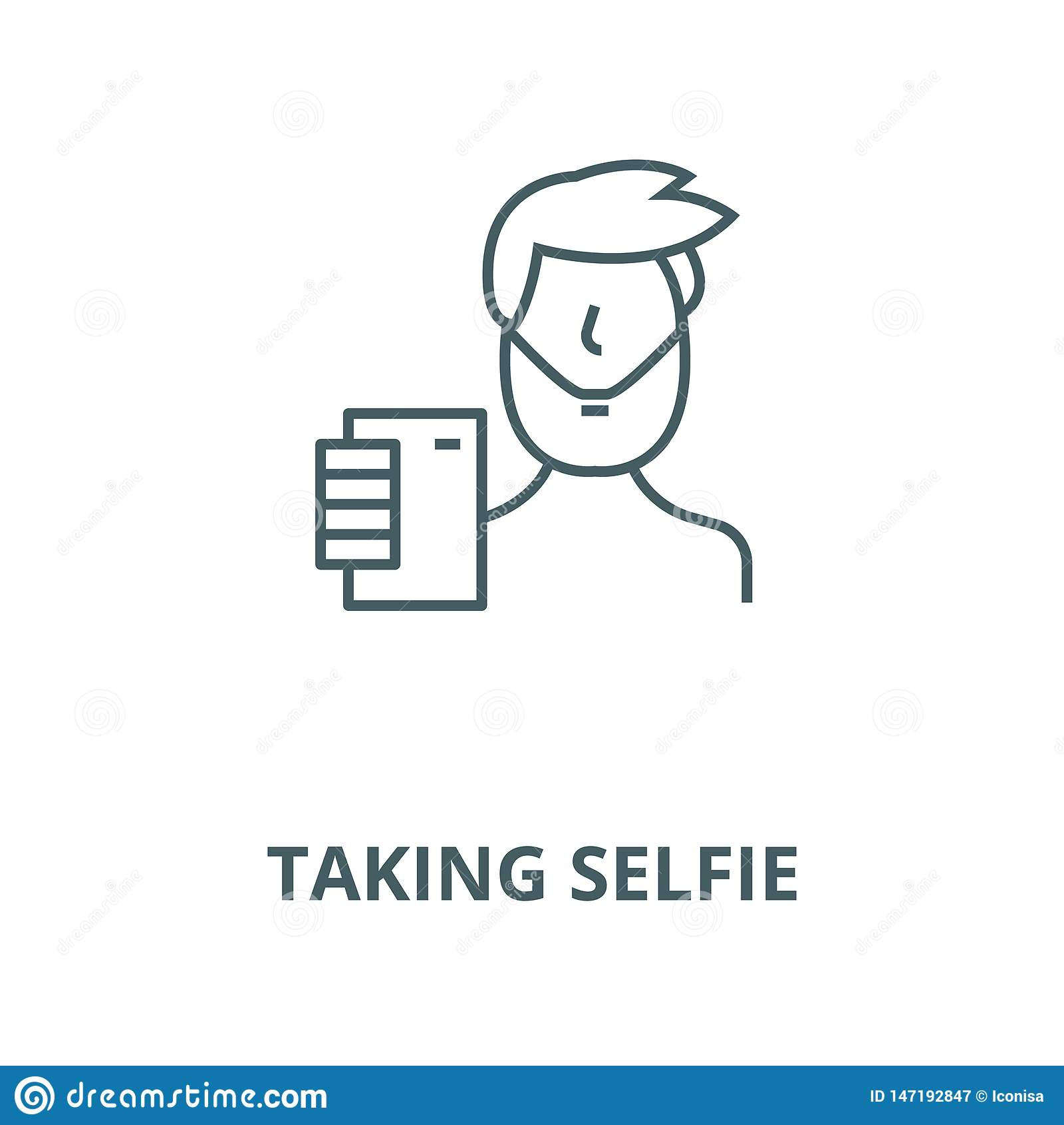 Taking selfie vector line icon, linear concept, outline sign, symbol