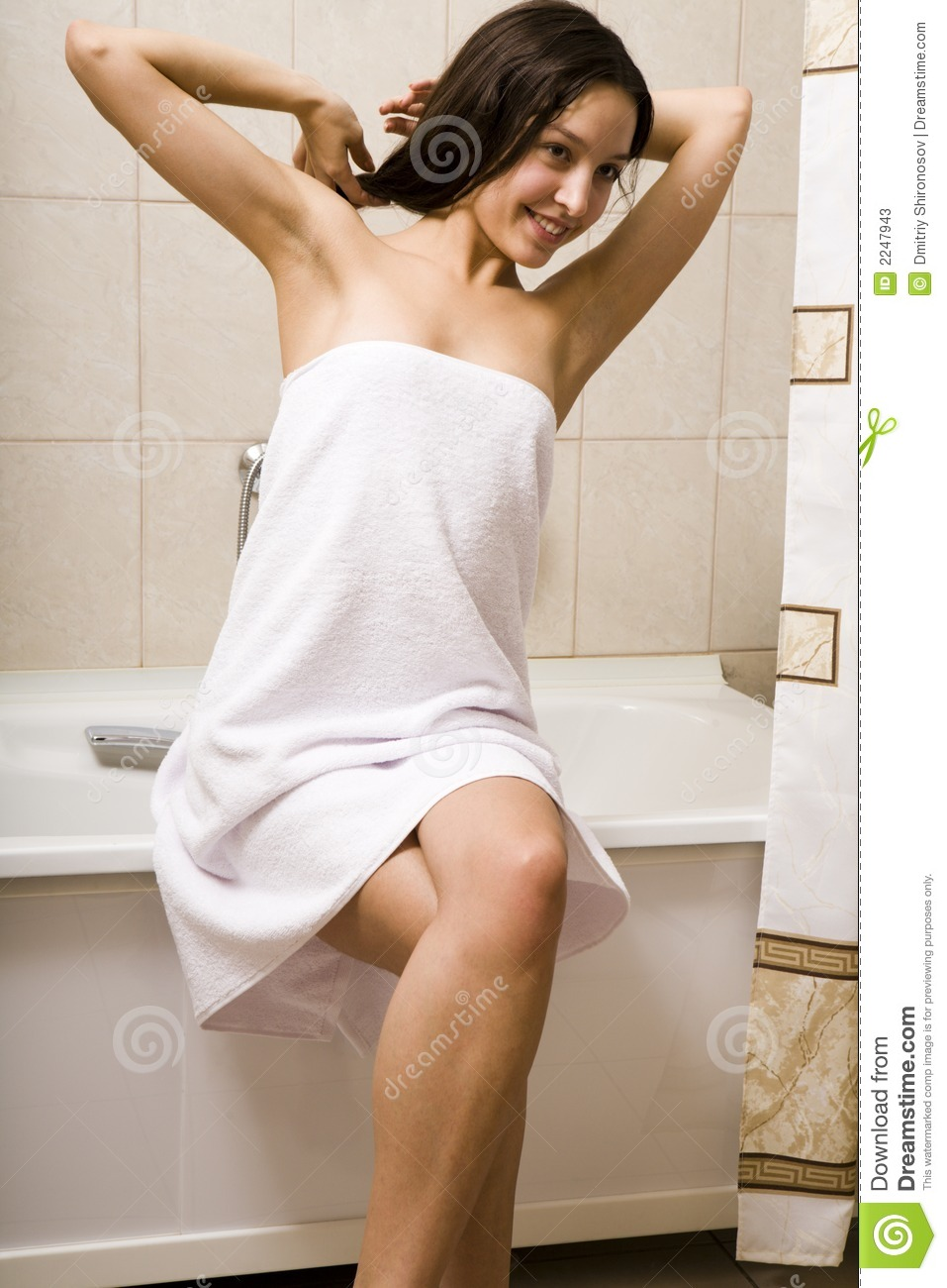 After taking a shower stock image image of health bench for Bathroom models photos