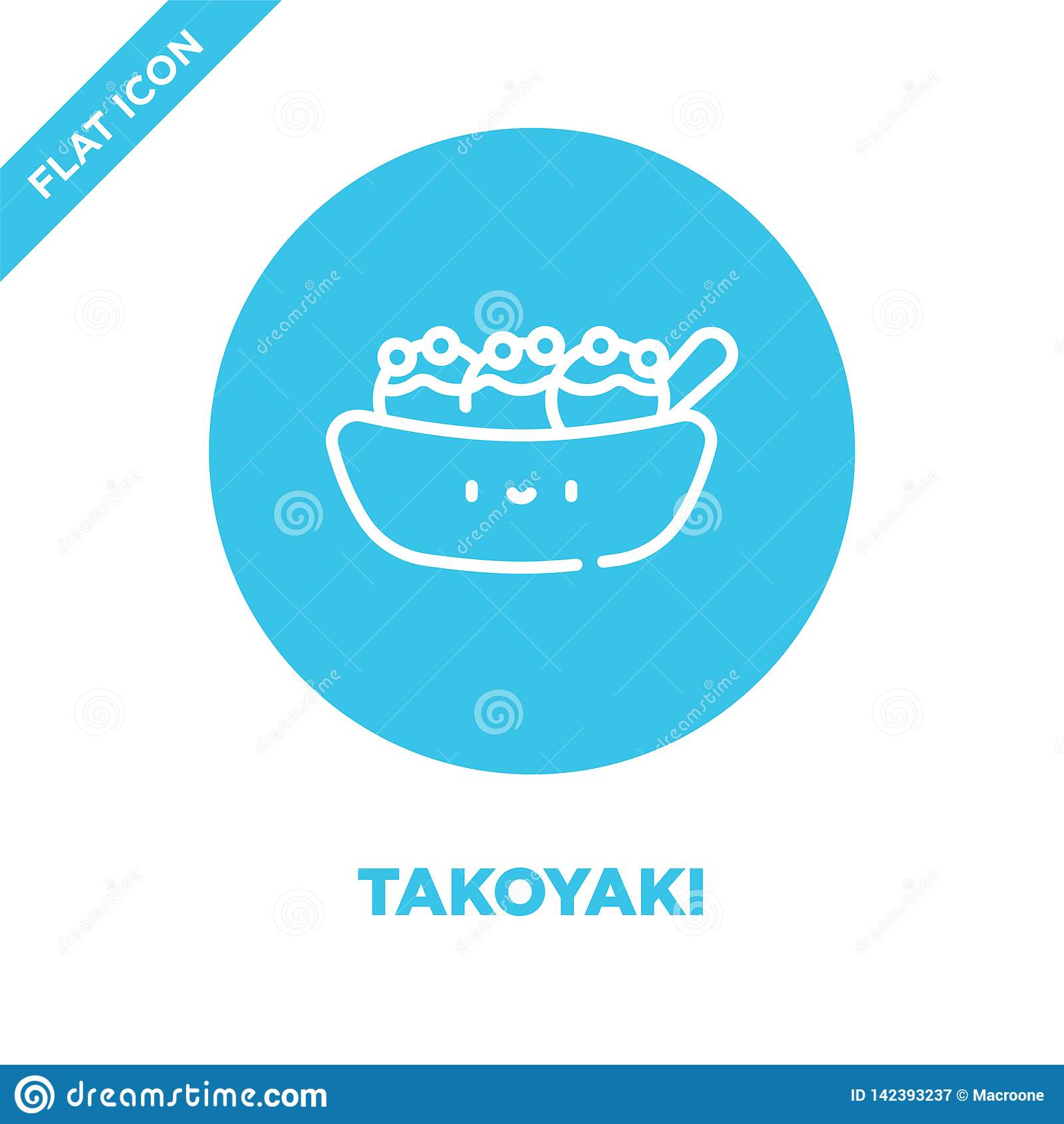 Takoyaki ikony wektor od bierze oddaloną kolekcję Cienka kreskowa takoyaki konturu ikony wektoru ilustracja Liniowy symbol dla uż
