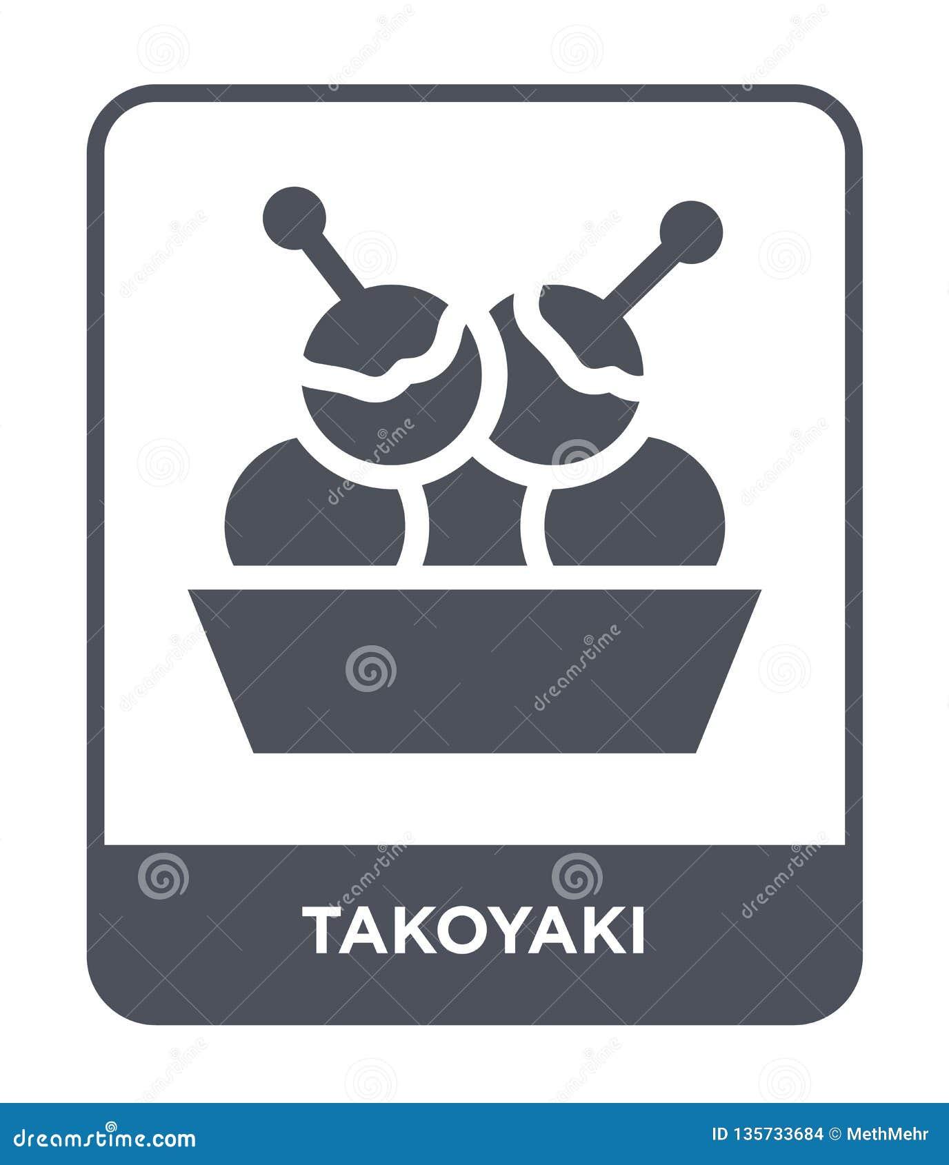 Takoyakipictogram in in ontwerpstijl takoyakipictogram op witte achtergrond wordt geïsoleerd die eenvoudige en moderne vlakte van