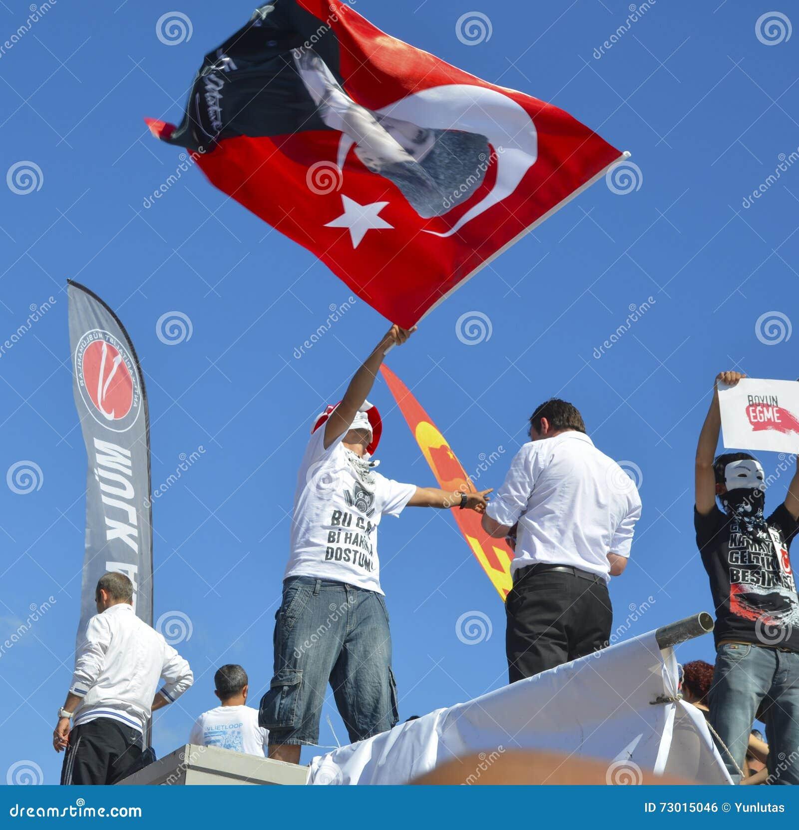 Taksim Gezi parkerar protester och händelser En sikt från protesterna I
