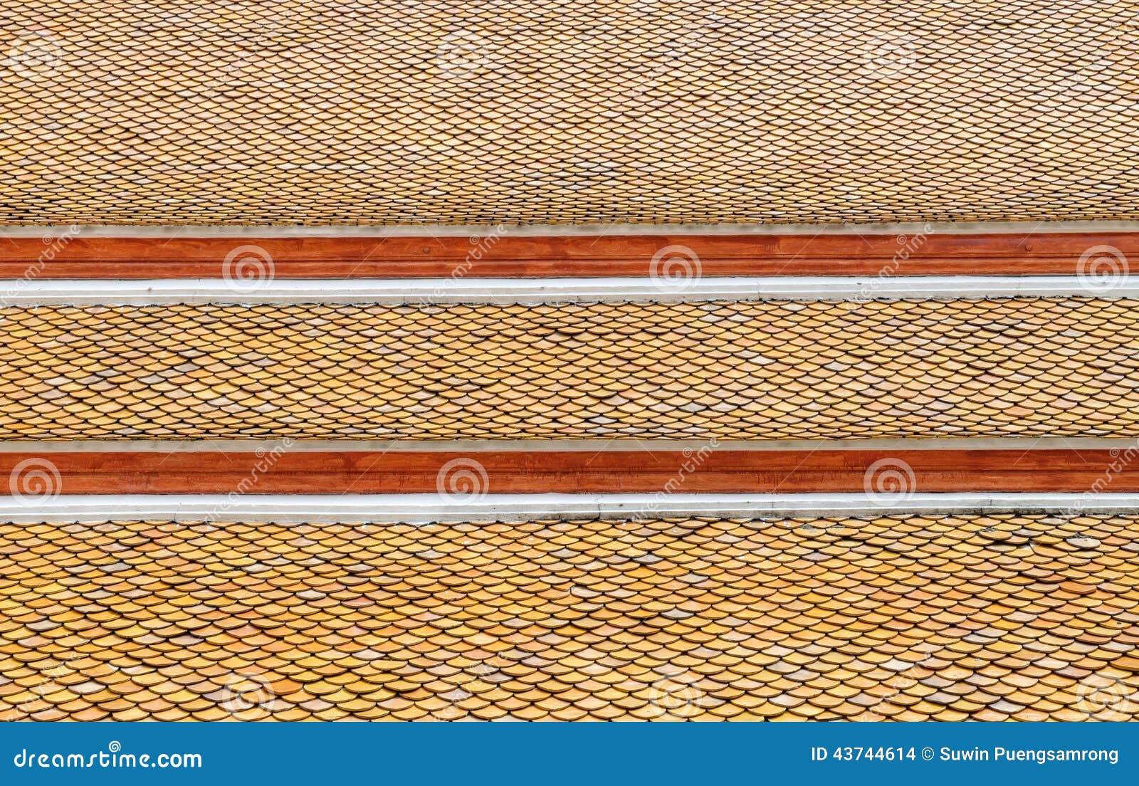 Taktegelplattor av den thailändska templet