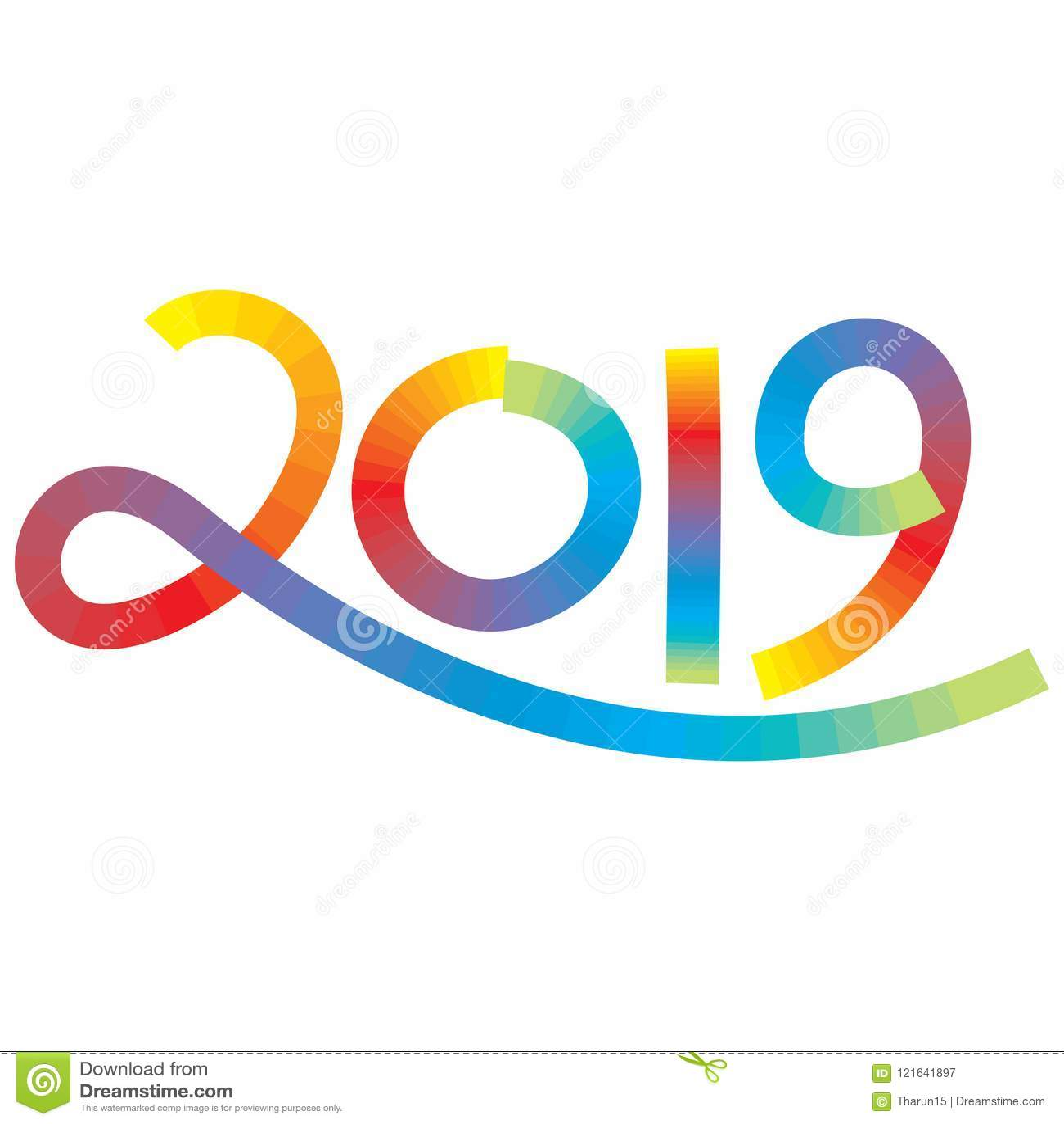 Tal tjugo nitton i mång- färgslaglängdeffekt för det nya året