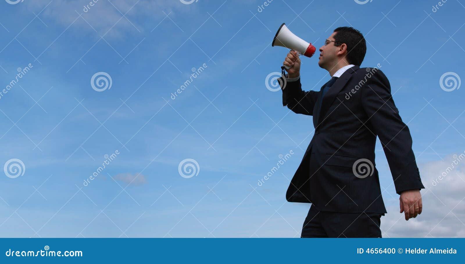 Tala för affärsmanmegafon