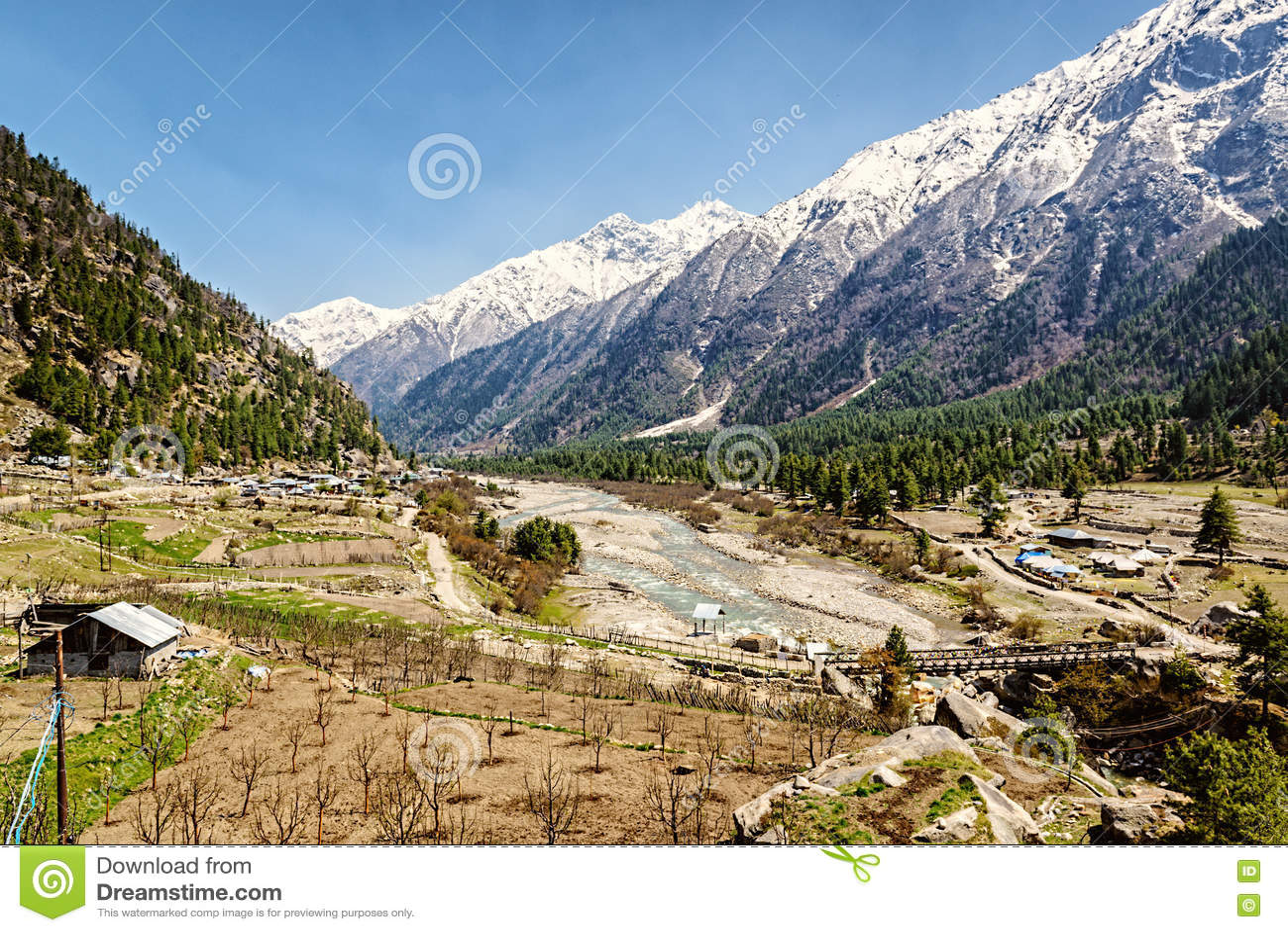 Talansicht in Himalaja mit Fluss und Holzbrücke Sangla