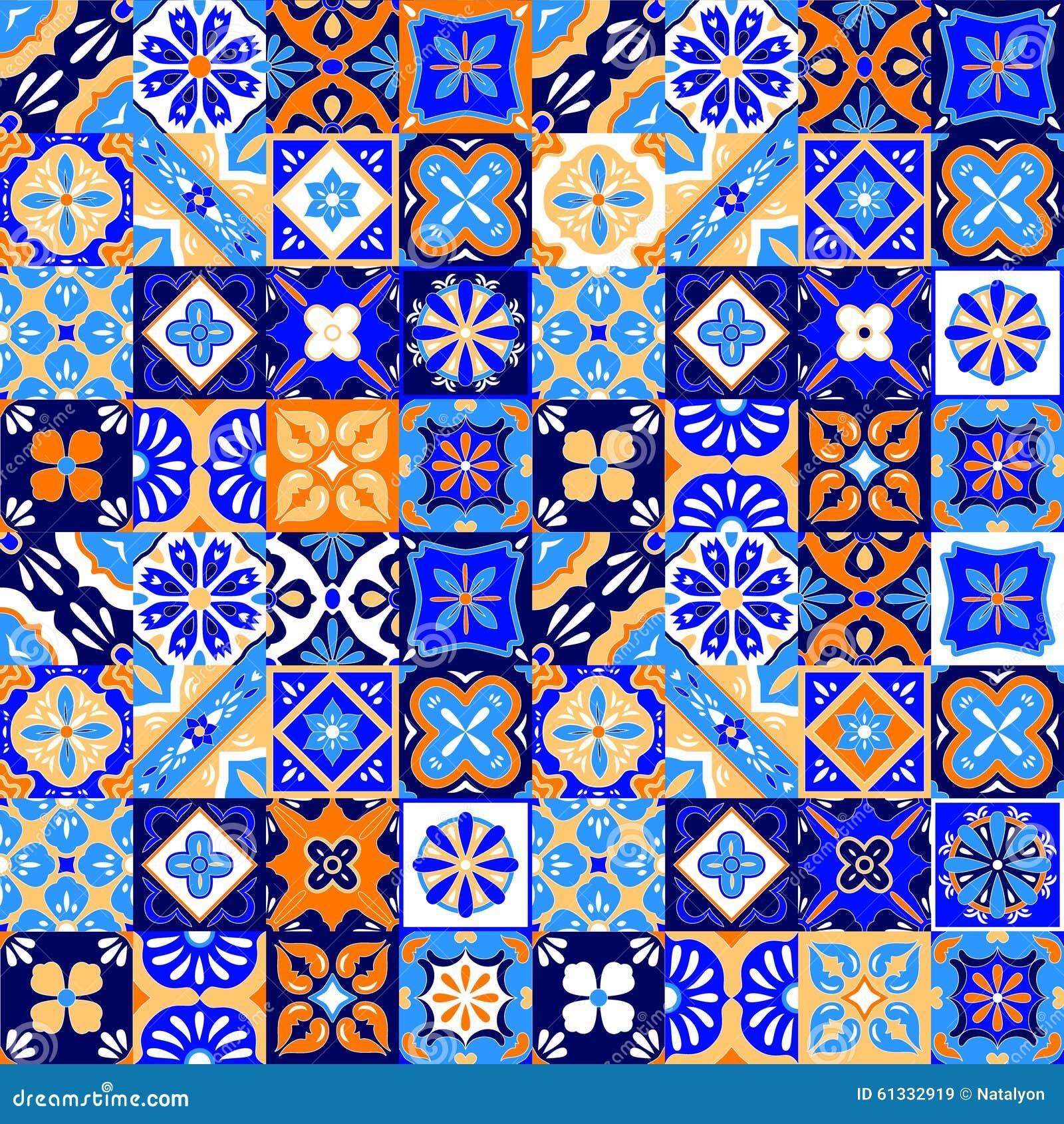 Talavera estilizada mexicana teja el modelo inconsútil en anaranjado y blanco azules, vector