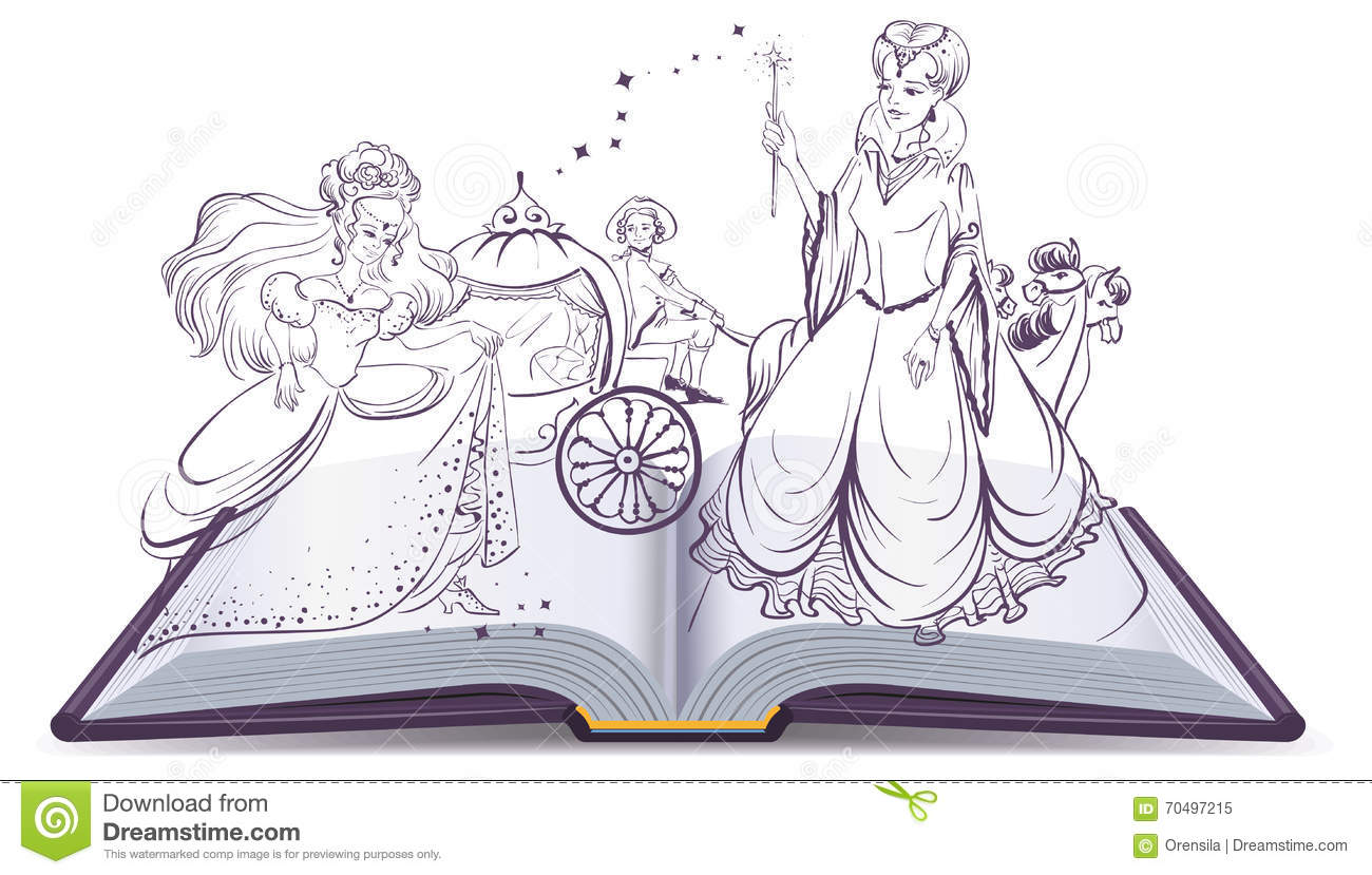 tale of cinderella open book fantasy tale fairy and cinderella