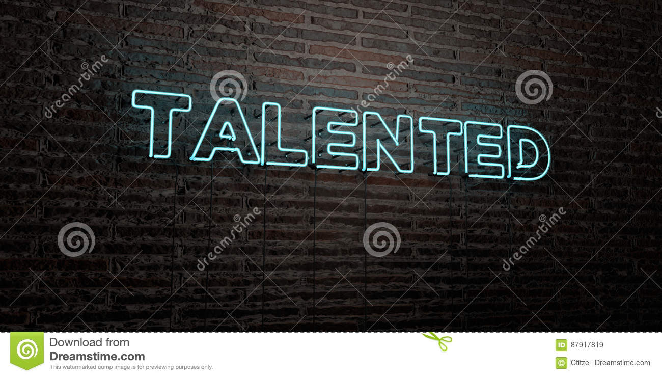 TALENTED -Realistic Neon Sign on Brick Wall background - 3D rendered royalty free stock image