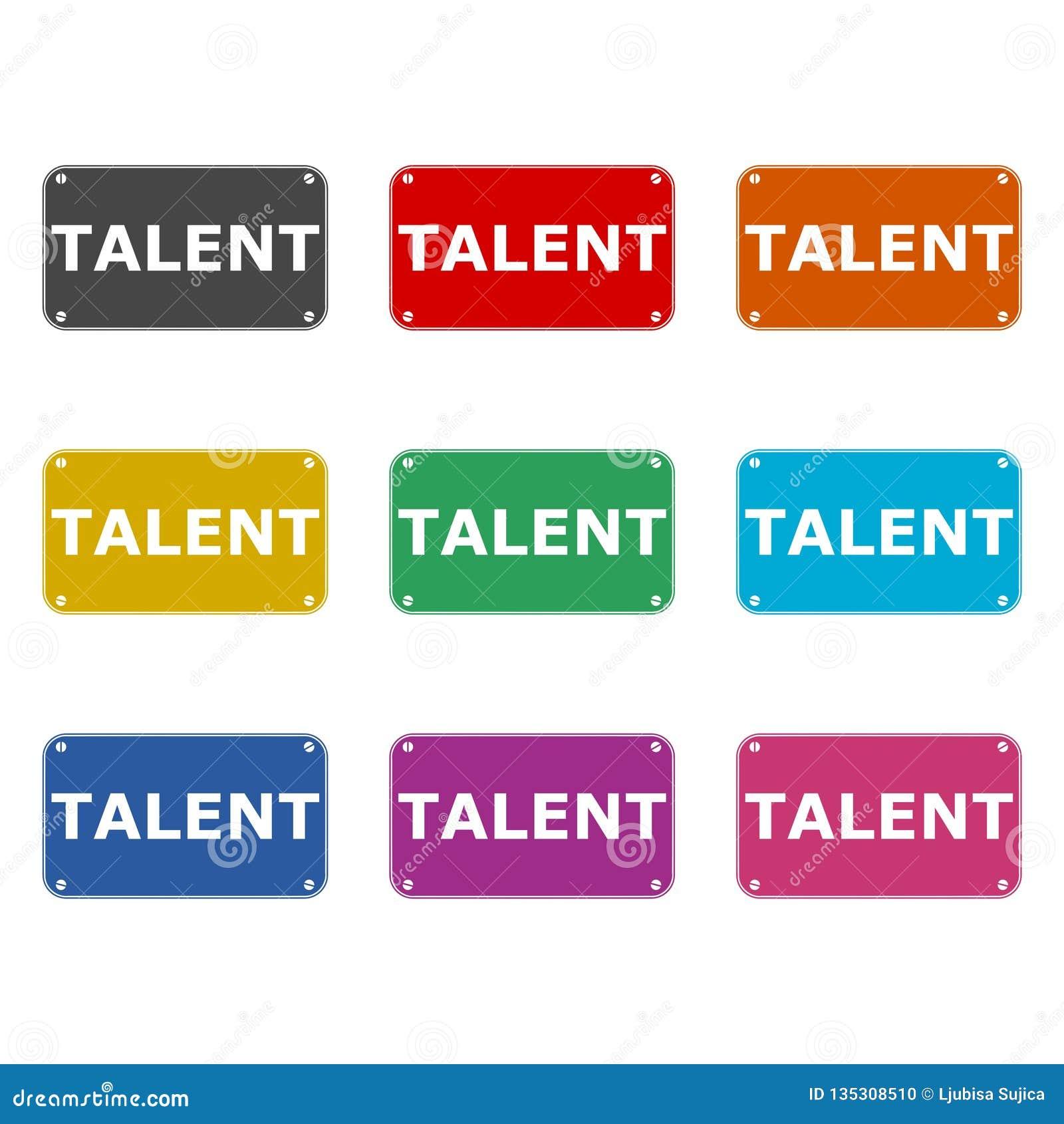 Talentenpictogram of embleem, kleurenreeks