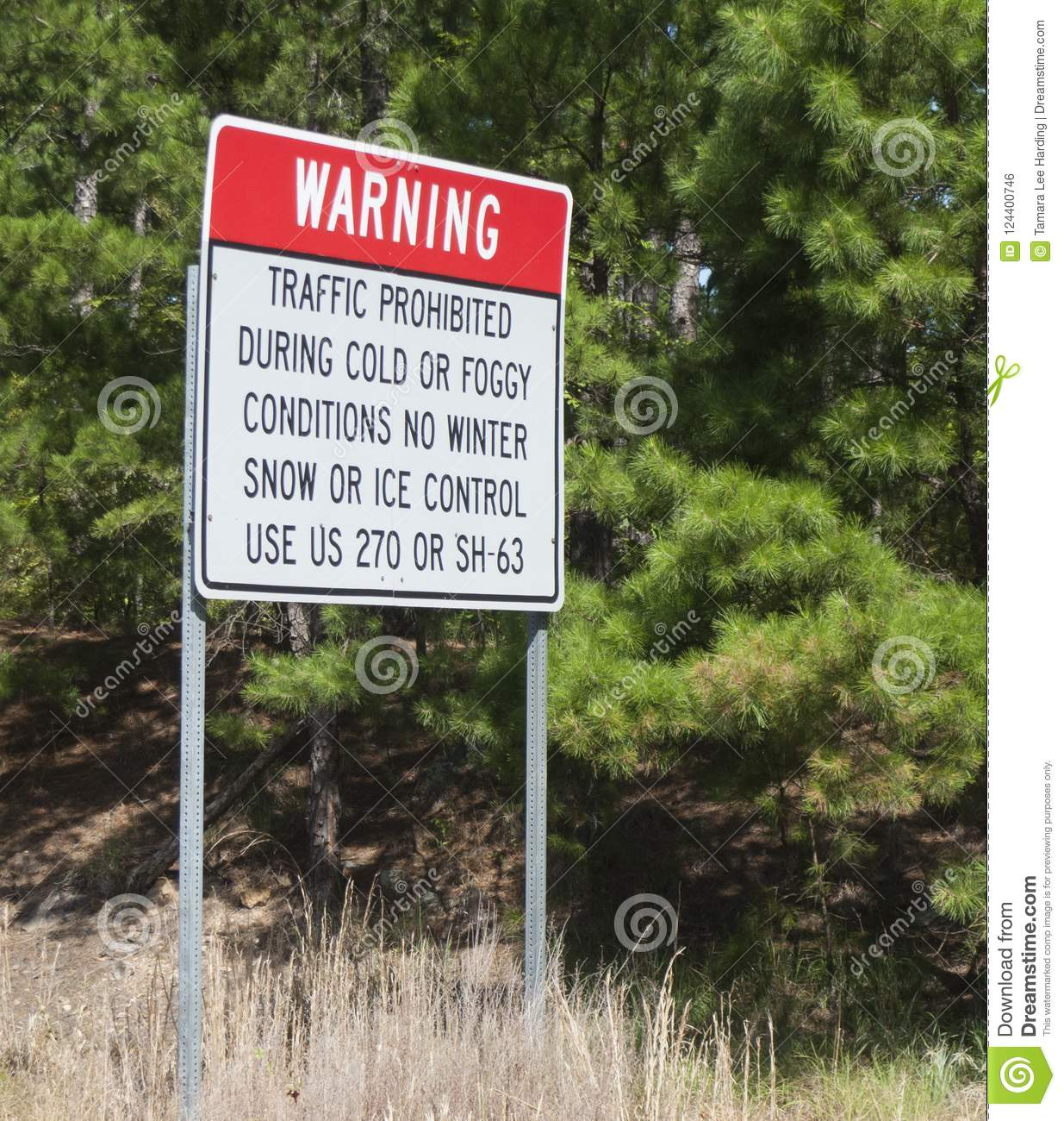 Talimena National Scenic Byway Traffic Sign Stock Photo