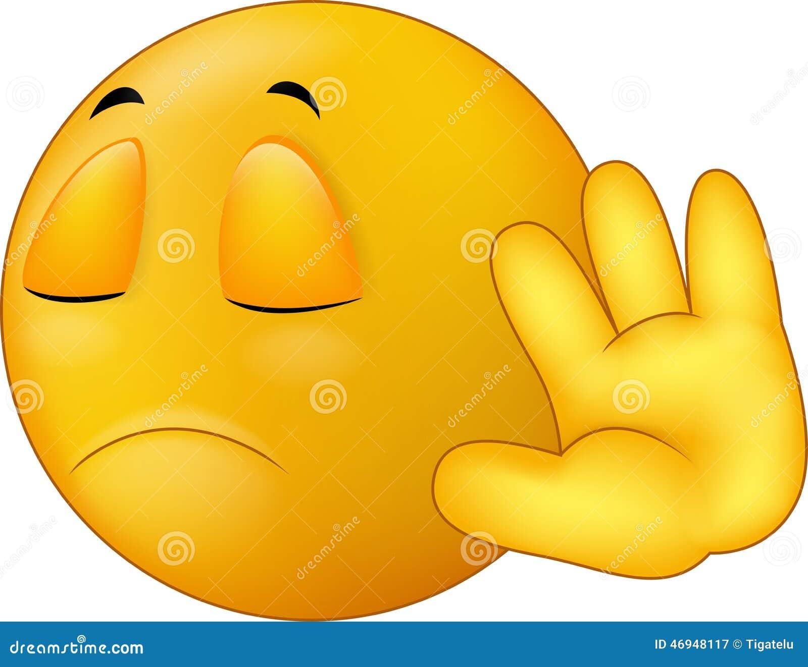 talk to my hand gesture smiley emoticon cartoon stock