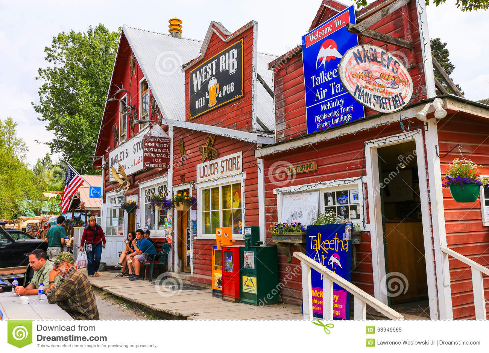 Talkeetna Opslag van Alaska, de Bar en de Luchttaxi de Van de binnenstad
