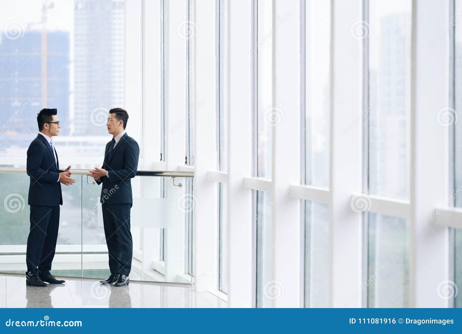 Talking business executives