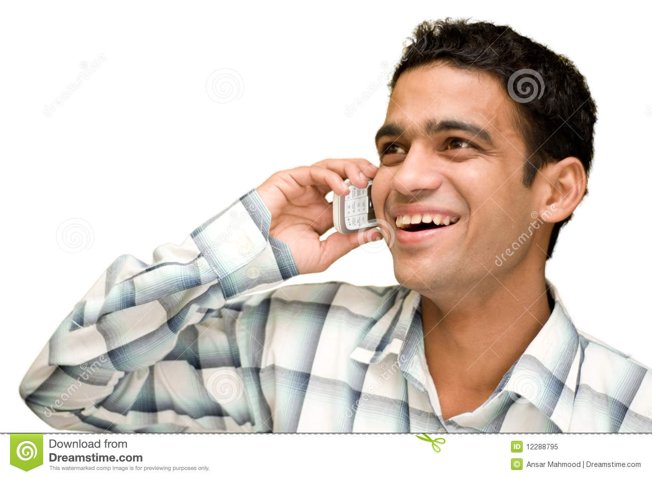Talking on cell phone stock image. Image of ethnicity ...