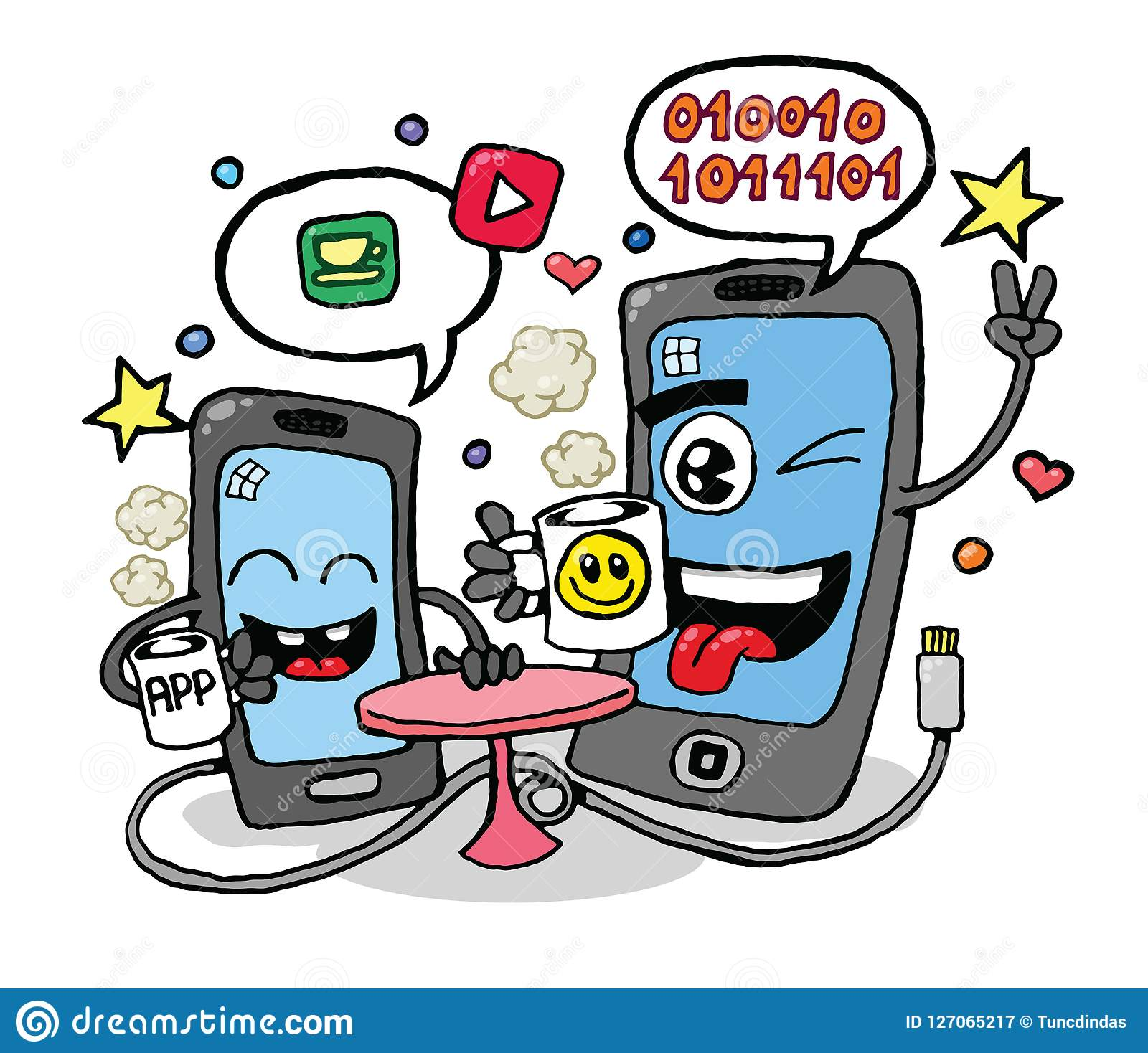 Talking Cell Phones Vector Stock Vector Illustration Of Smile 127065217
