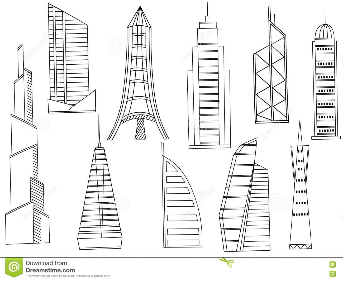 Coloring book real estate - Tall Buildings Coloring Book Vector Royalty Free Stock Photography