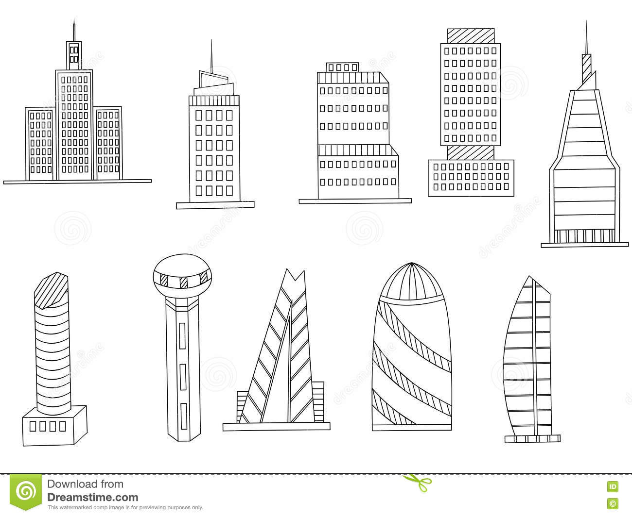 Tall Buildings Coloring Book Vector Stock Vector