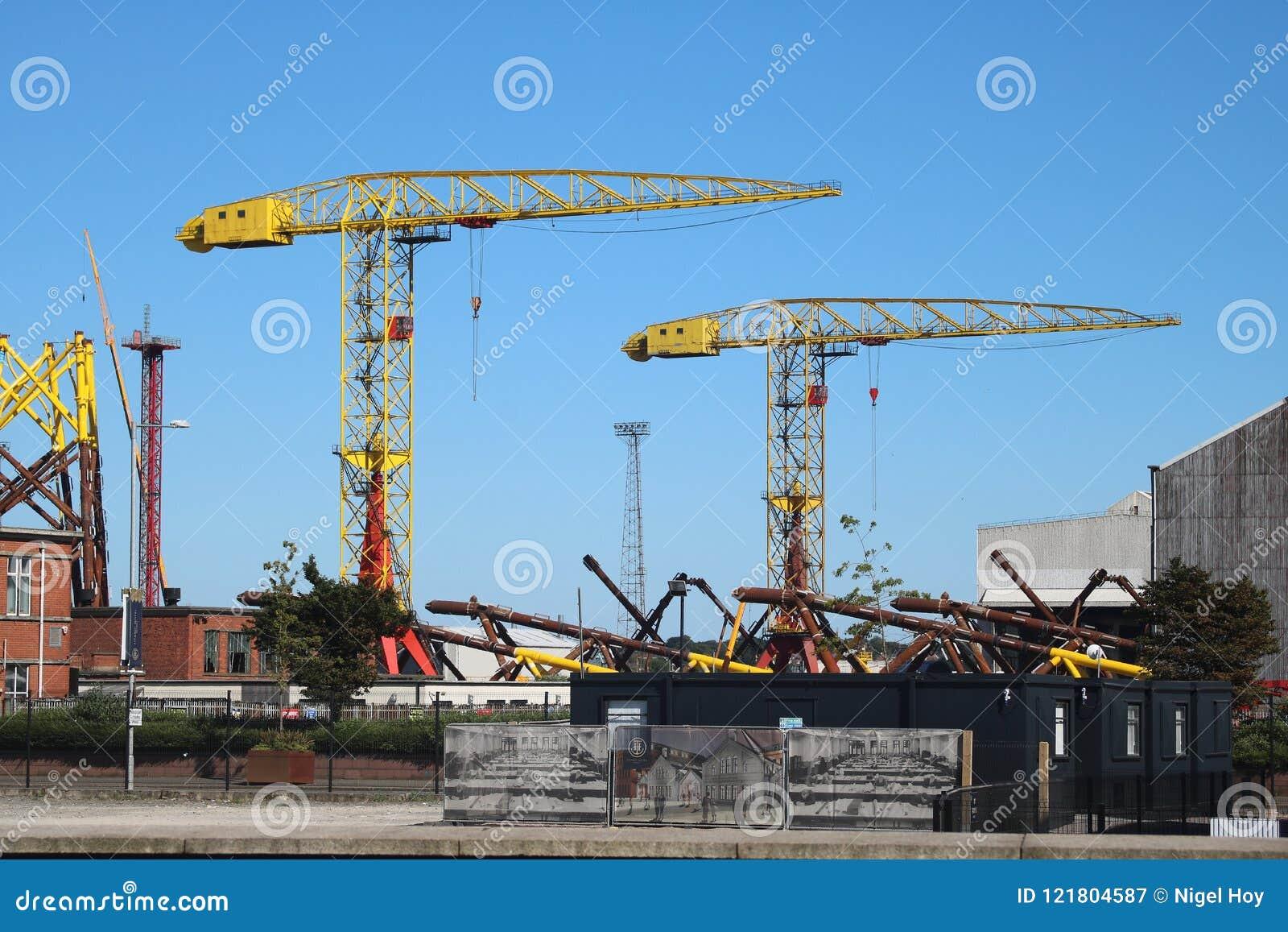 Tall cranes in shipbuilding yard