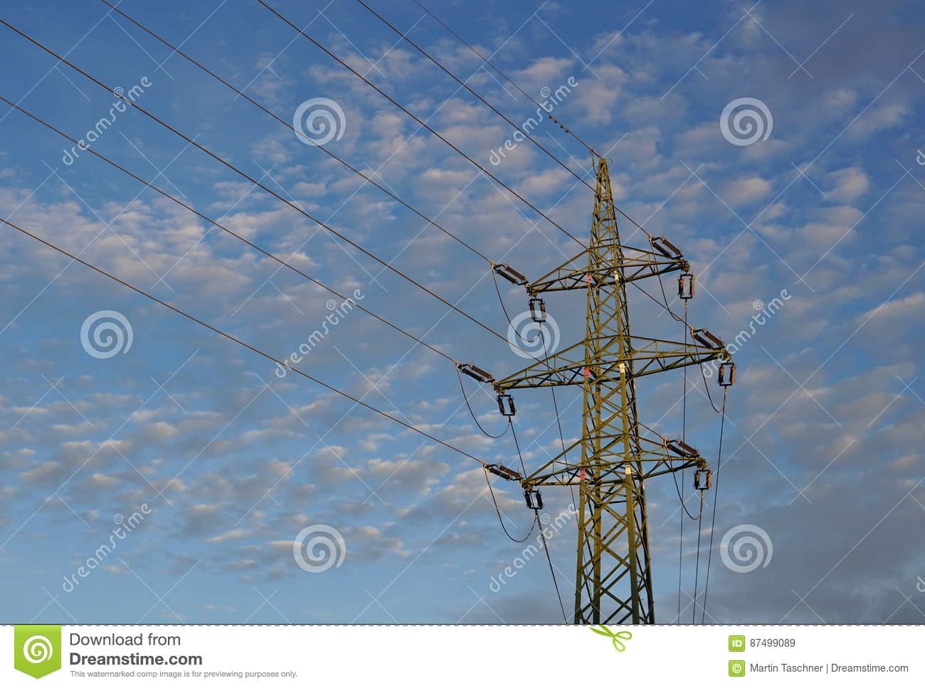 Tall Electric Pylon Leading High Current And Voltage As A Symbol Of