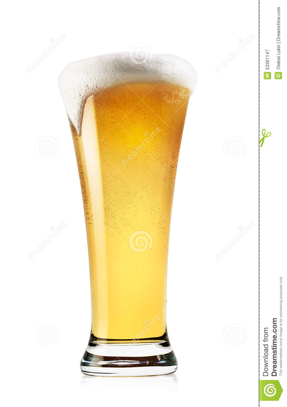 Tall Glass Of Light Beer With Foam Stock Photo Image